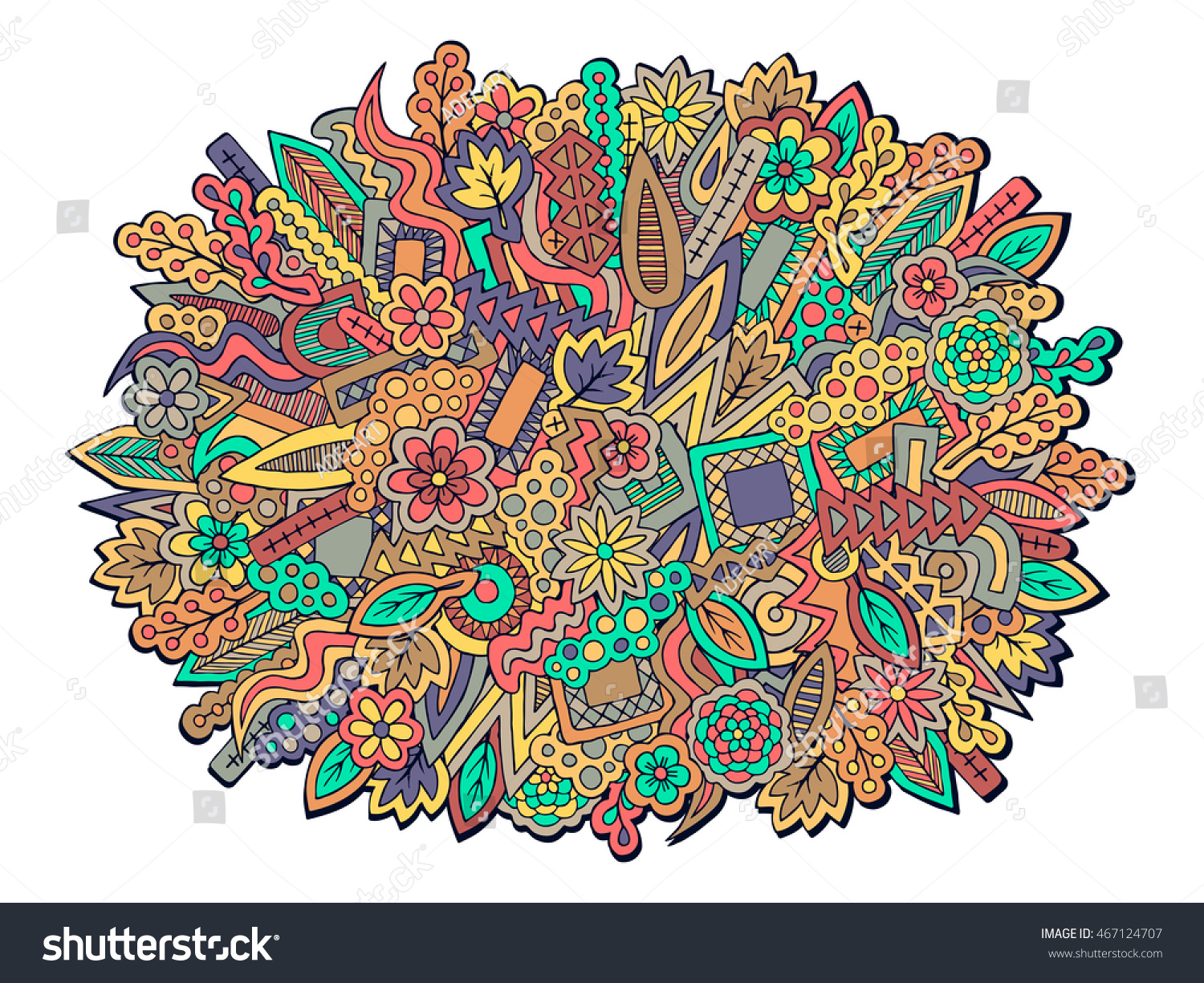 Group Of Zentangle Colorful Fall Wallpaper