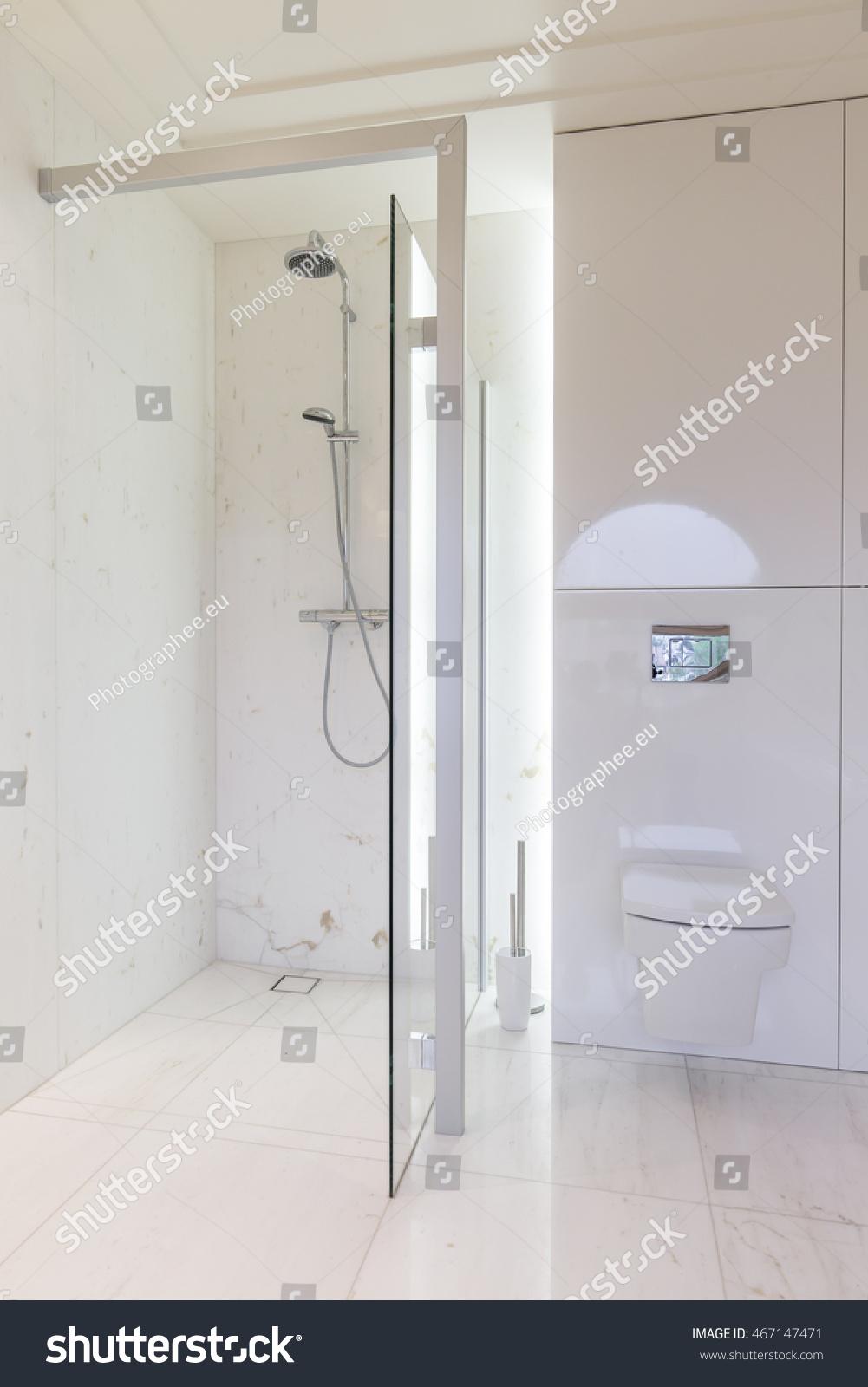 Bright Minimalist Bathroom Design Glass Shower Stock Photo (Download ...