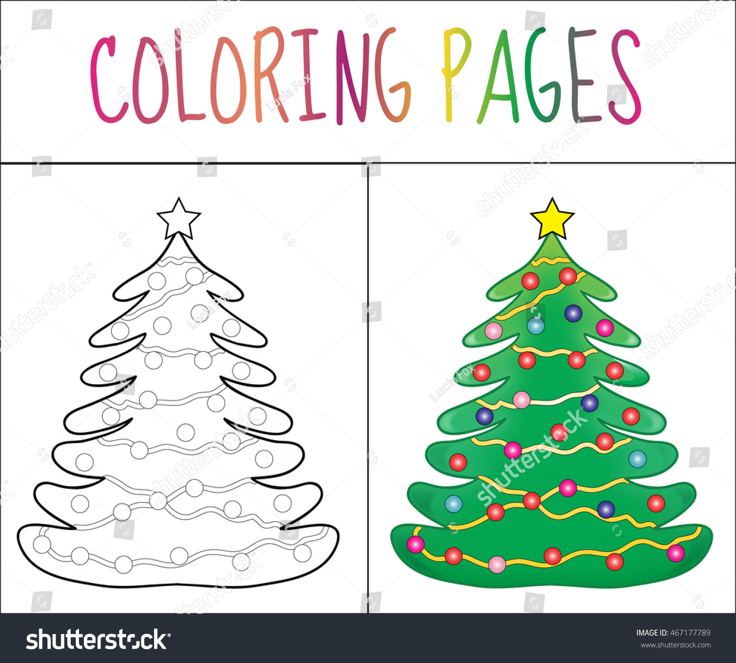 Coloring Book Page Christmas Tree New Stock Vector 467177789 ...