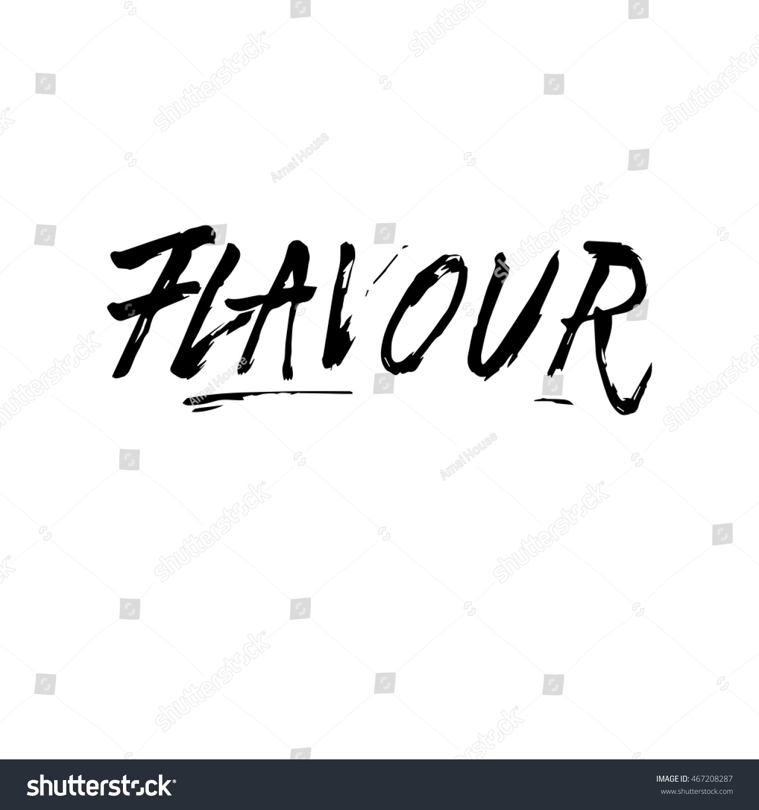 Flavour Sign Ink Hand Lettering Modern Stock Vector