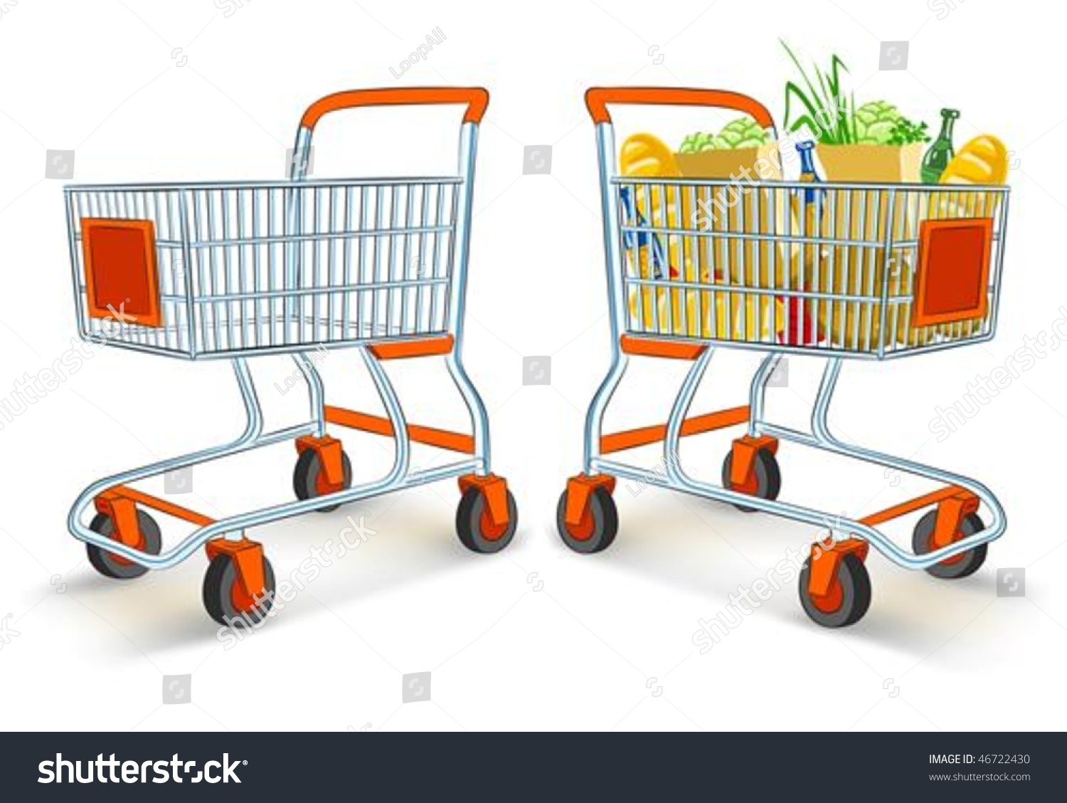 Worksheet Full And Empty full empty shopping carts supermarket store stock vector 46722430 and from illustration isolated on white background