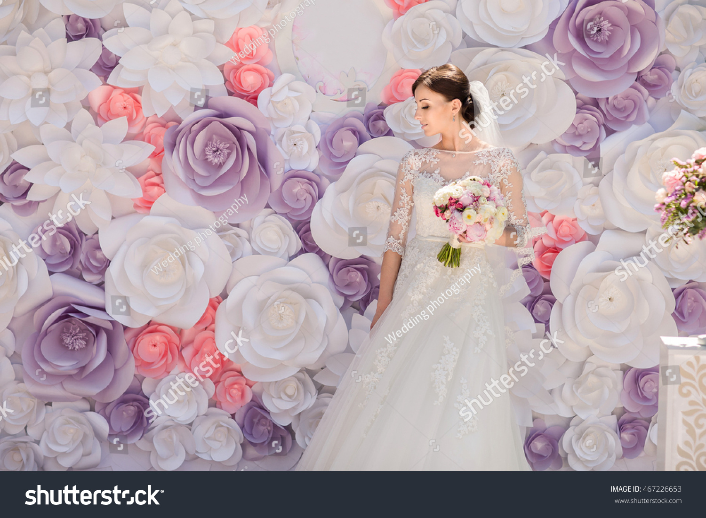 Wedding wedding day paper flowers wedding stock photo royalty free wedding wedding day paper flowers in wedding decor bride and groom on wedding mightylinksfo