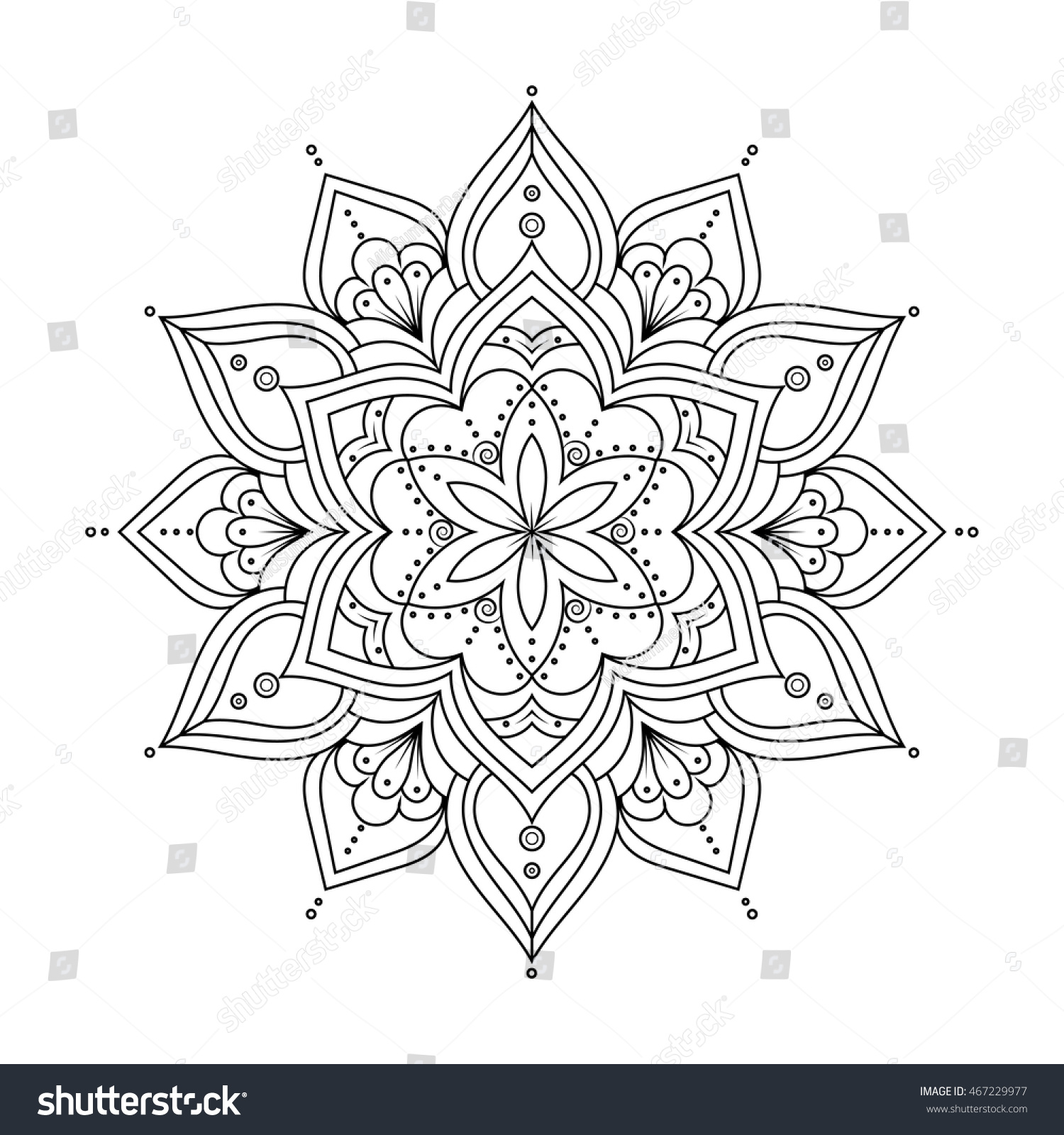 Outline Mandala For Coloring Book Anti Stress Therapy Pattern Ethnic Decorative Round Elements