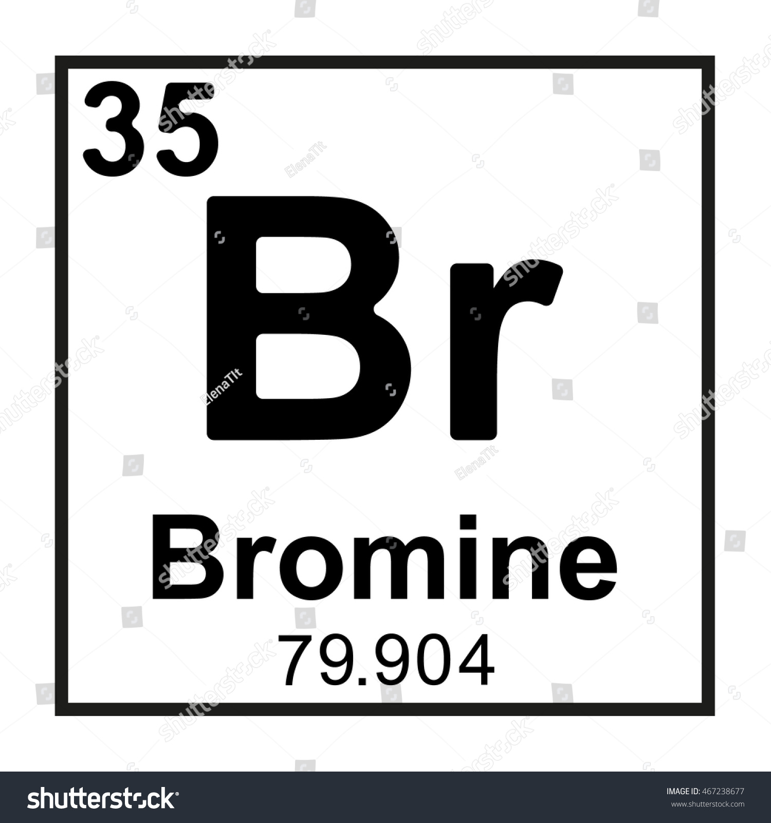 Periodic Table Element Bromine Stock Vector Royalty Free 467238677