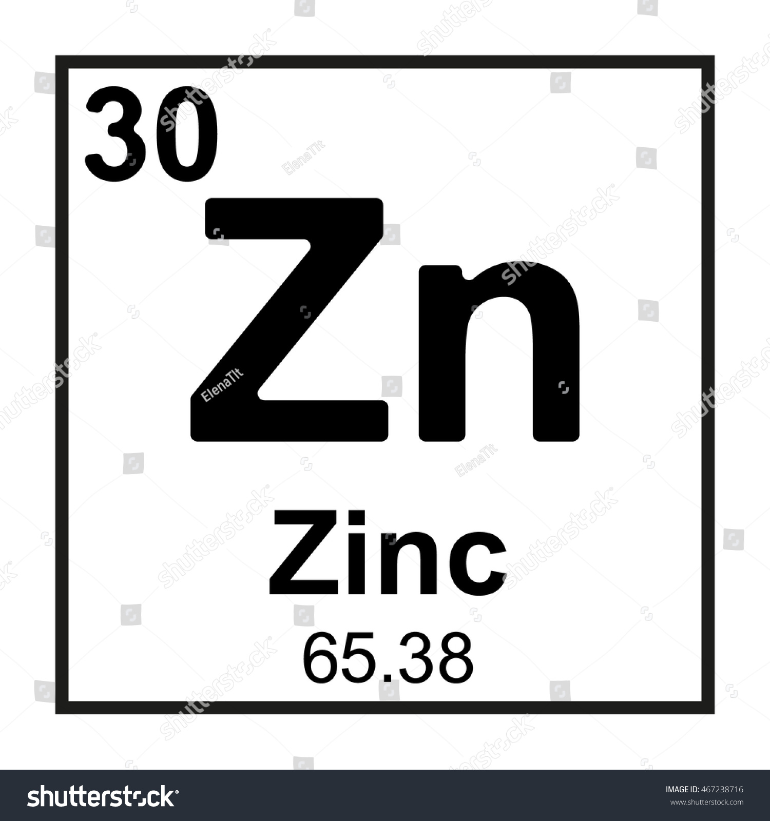 Periodic table element zinc stock vector 467238716 shutterstock periodic table element zinc gamestrikefo Gallery