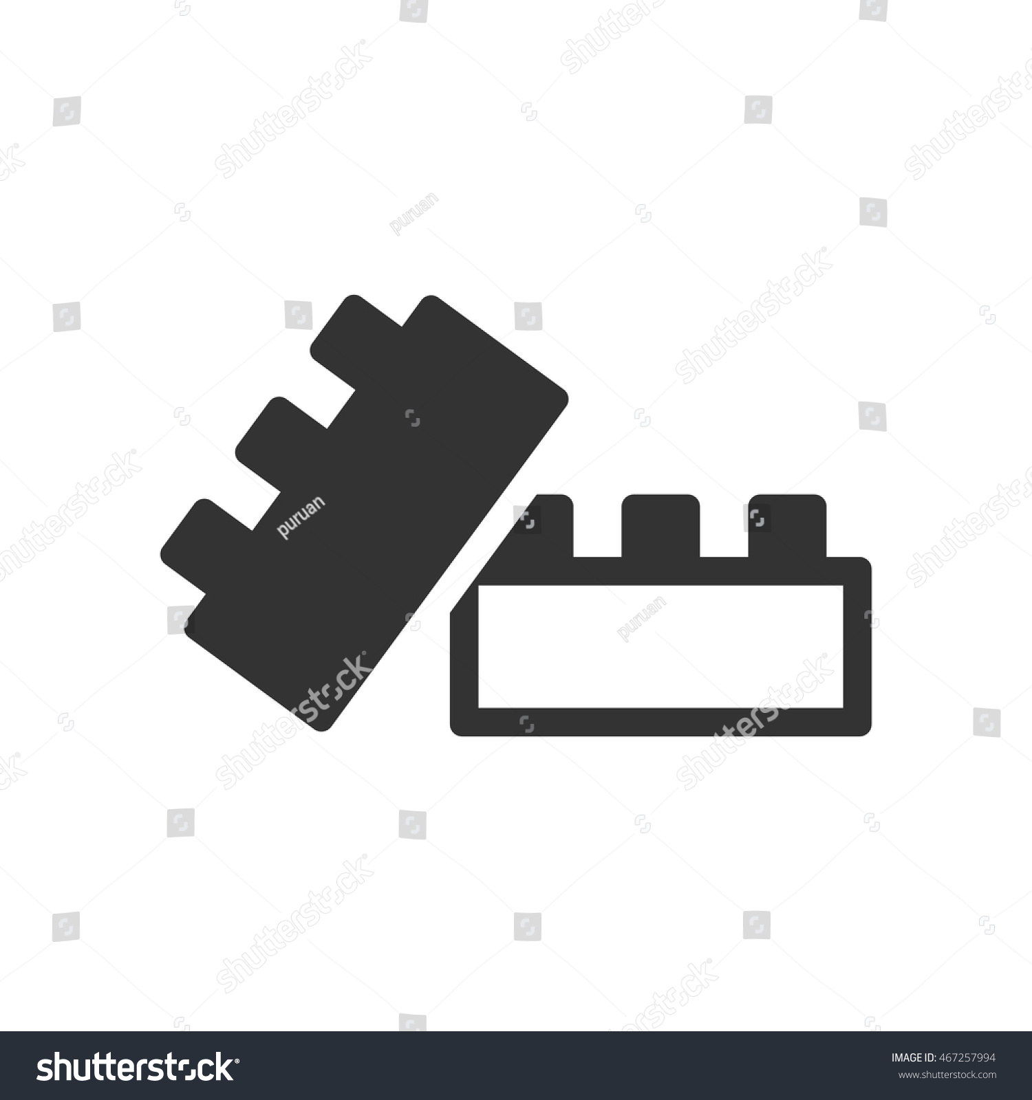 Building blocks icon single grey color stock vector