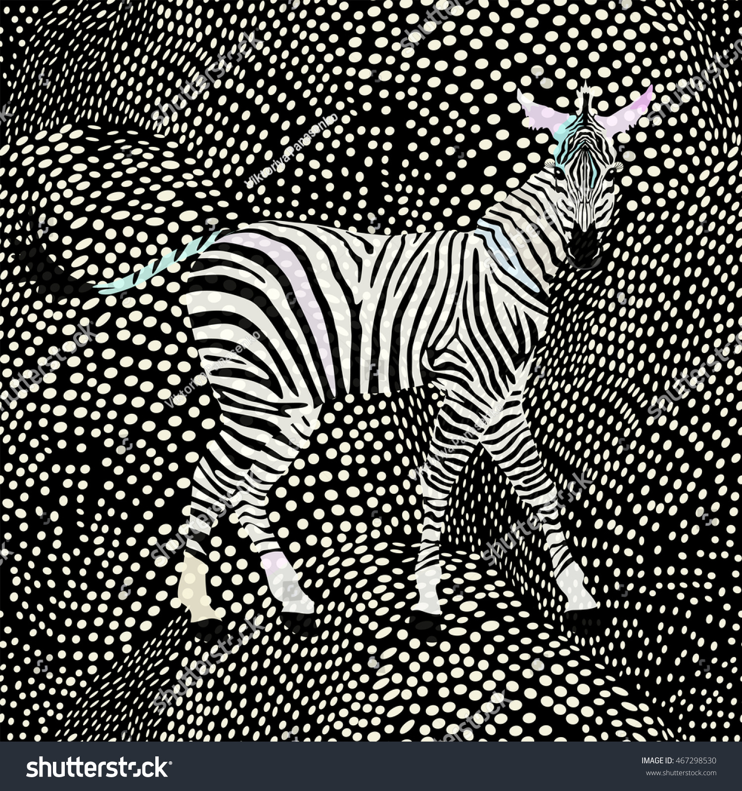 Abstract Draw Zebra In The Savannah Fashion Striped Polka Dot Print Color Black And