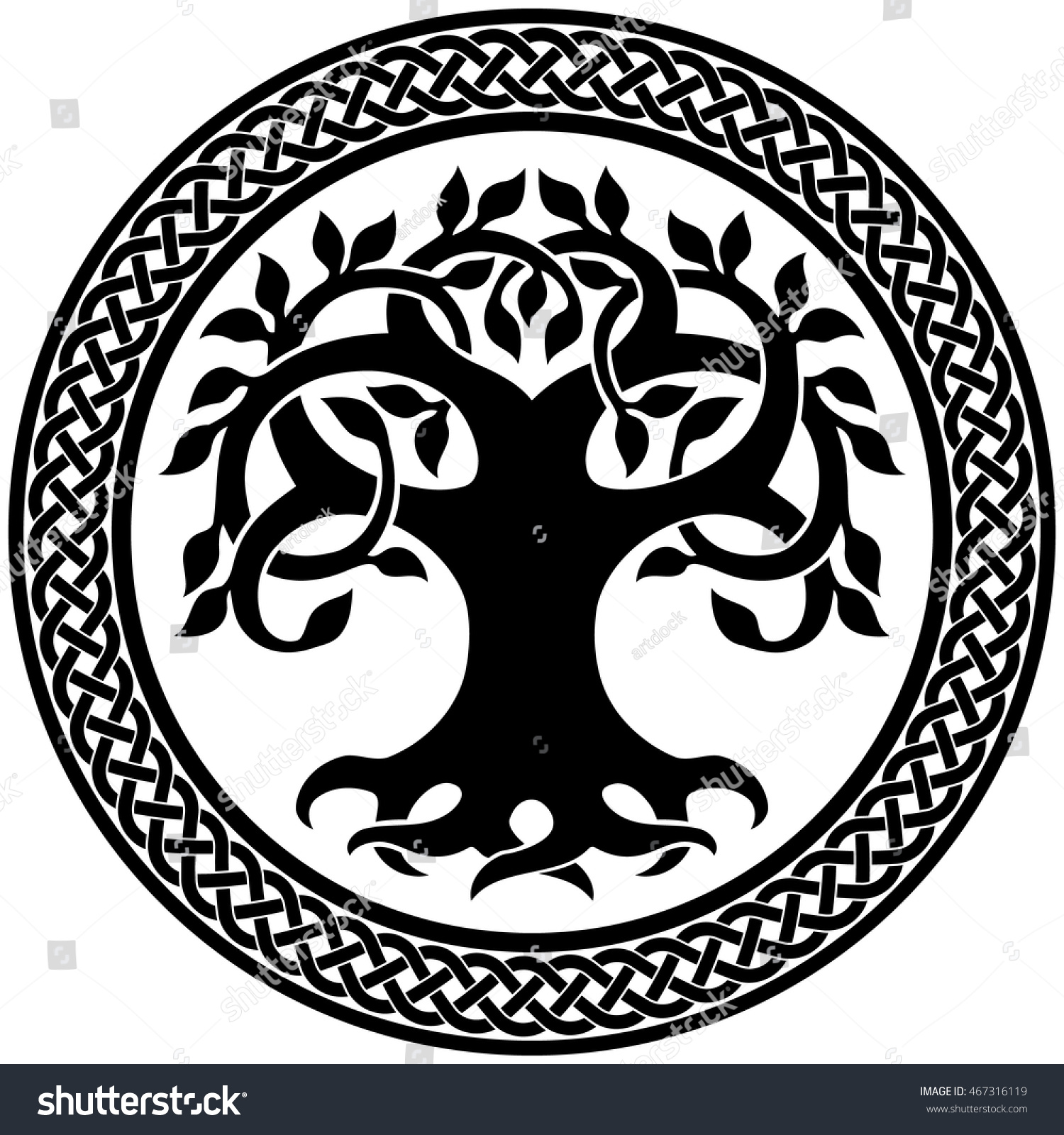 Tree of life ornament - Vector Ornament Decorative Round Celtic Tree Of Life With Circular Celtic Border