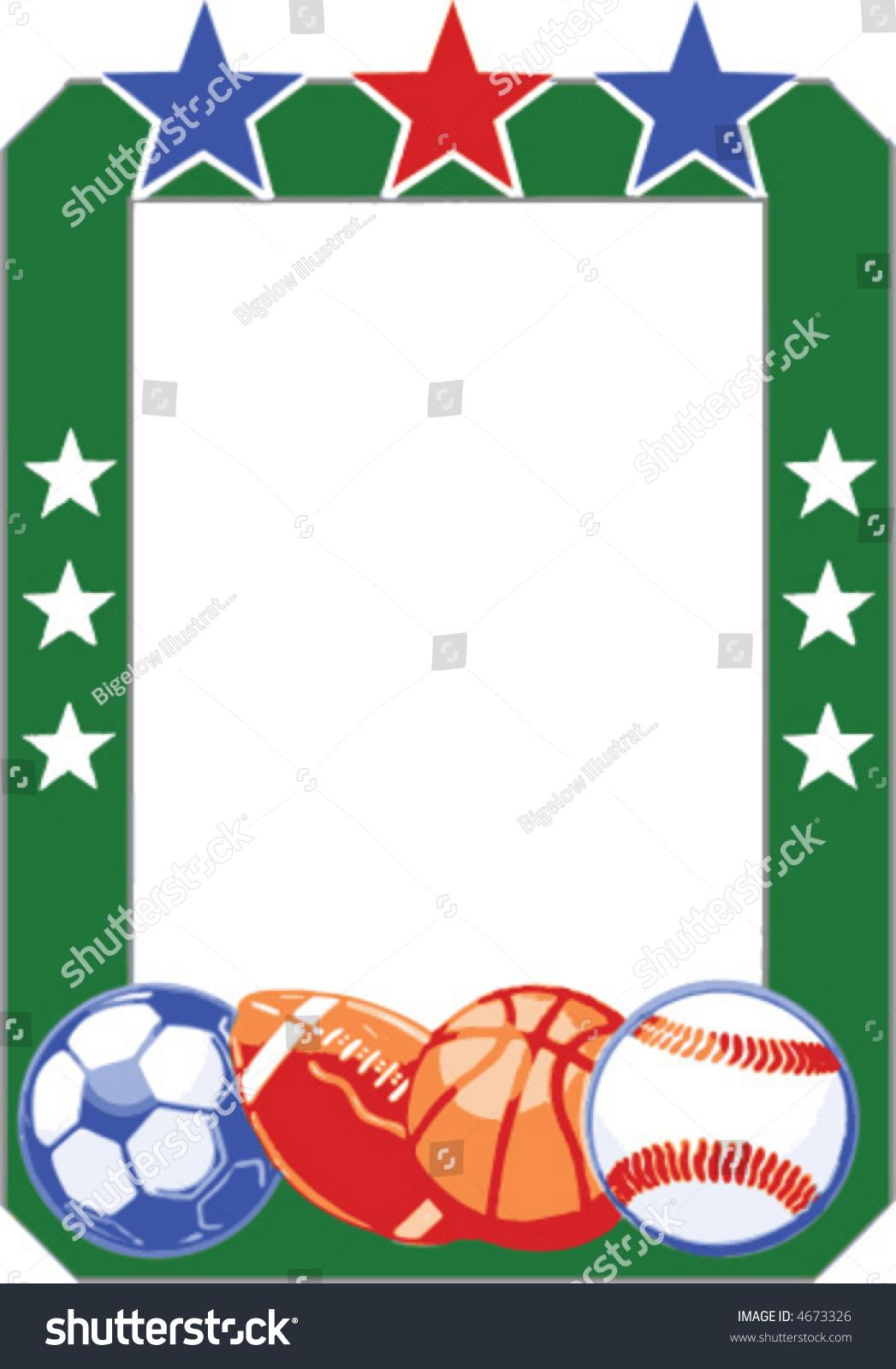 Sports frame soccer football basketball baseball stock vector sports frame with soccer football basketball and baseball jeuxipadfo Images