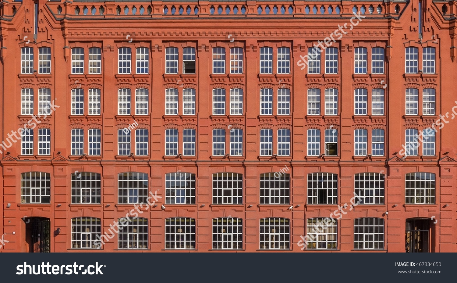Vintage Architecture Red Brick Classical FacadeStyle Building Industrial Russian Gothic Front View Close