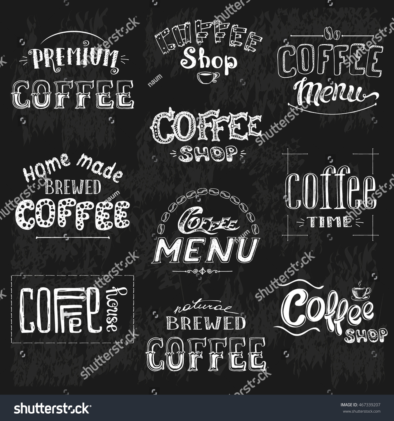 Hand Drawn Typography Collection Isolated On Black Background Vector Illustration