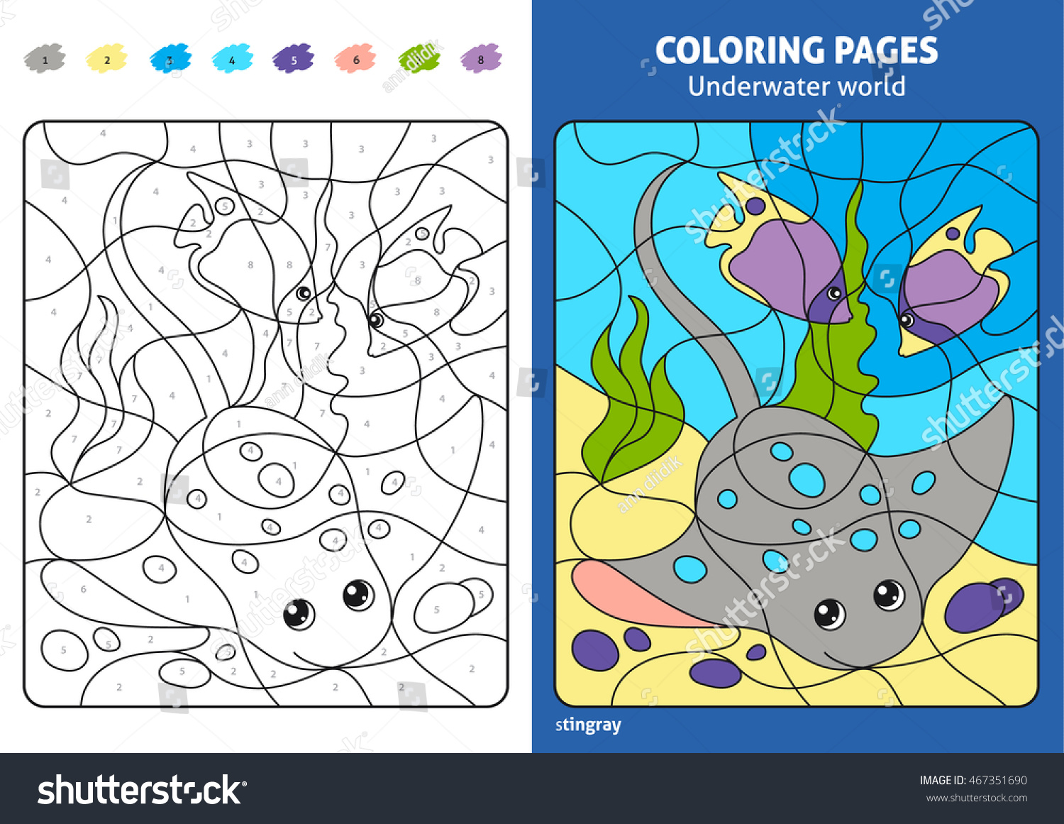 Underwater World Coloring Page Kids Stingray Stock Vector (Royalty ...