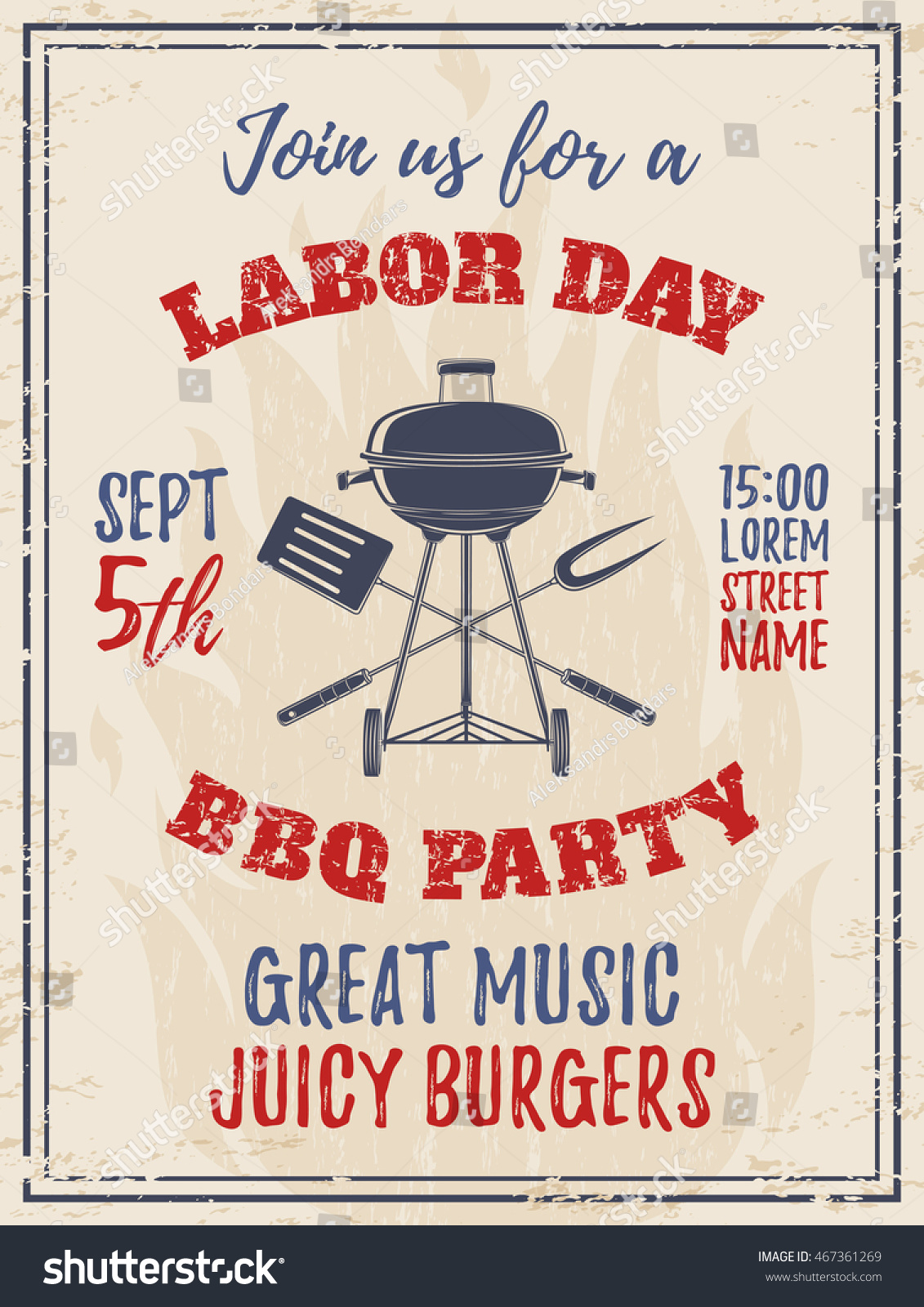 Vintage Labor Day BBQ Party Background Stock Vector 467361269 ...