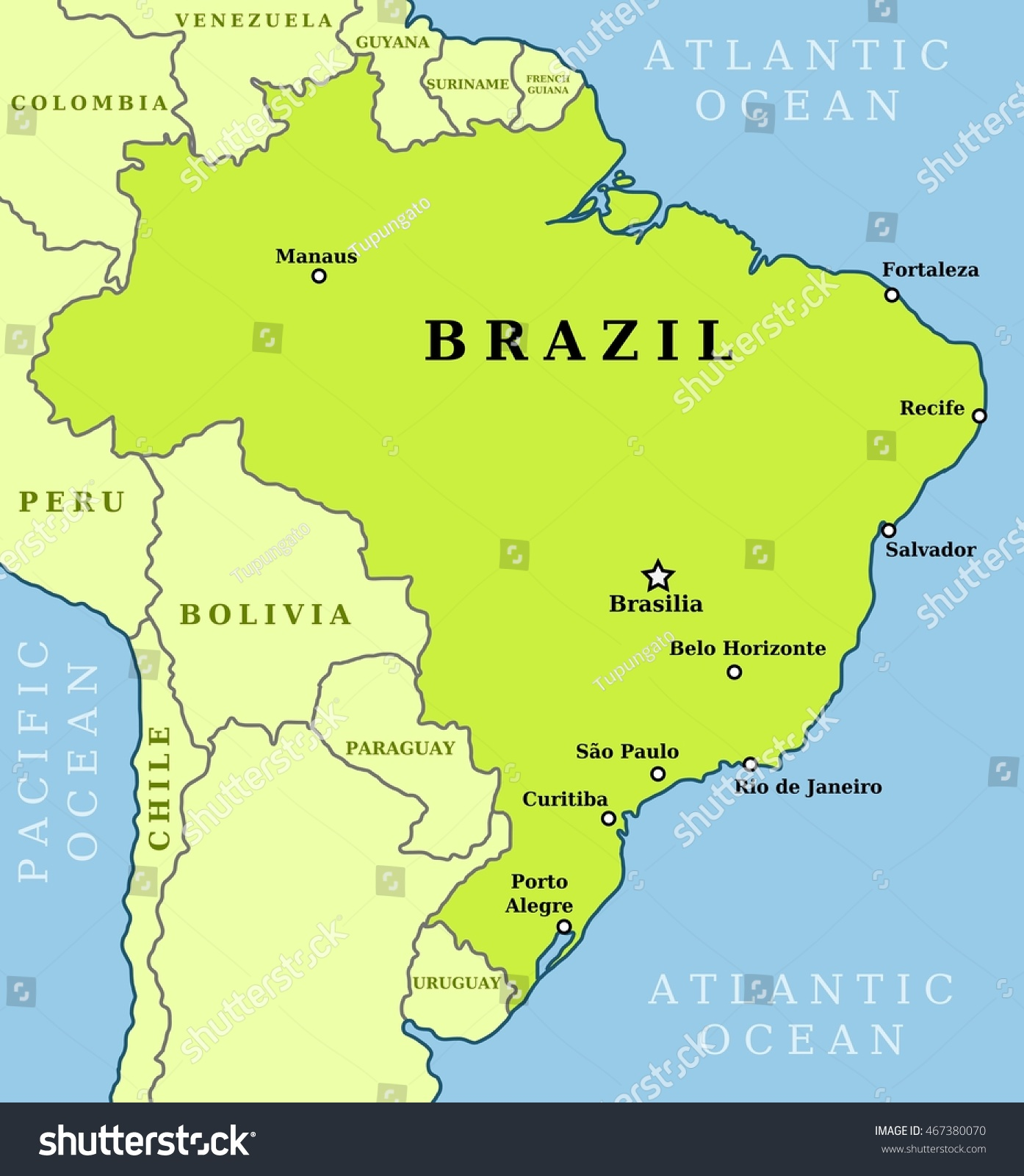 Map Brazil Country Outline Largest Stock Vector - Brazil map