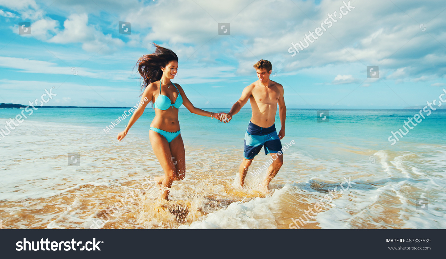 Consider, that young couple play on beach
