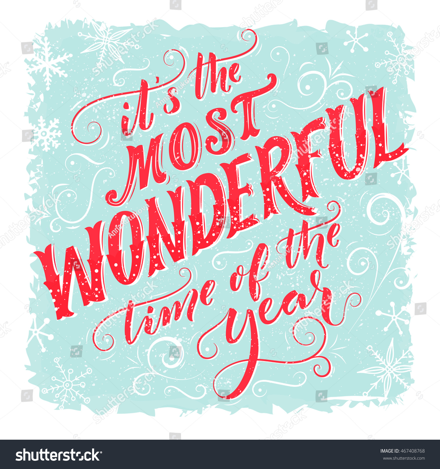 Most Wonderful Time Year Vintage Greeting Stock Vector Royalty Free 467408768