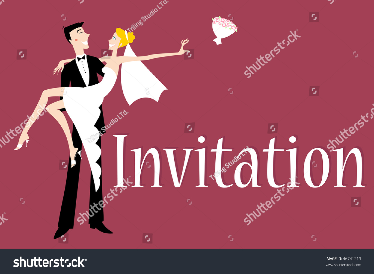 Vector Illustration Funky Wedding Invitation Cool Stock Vector ...