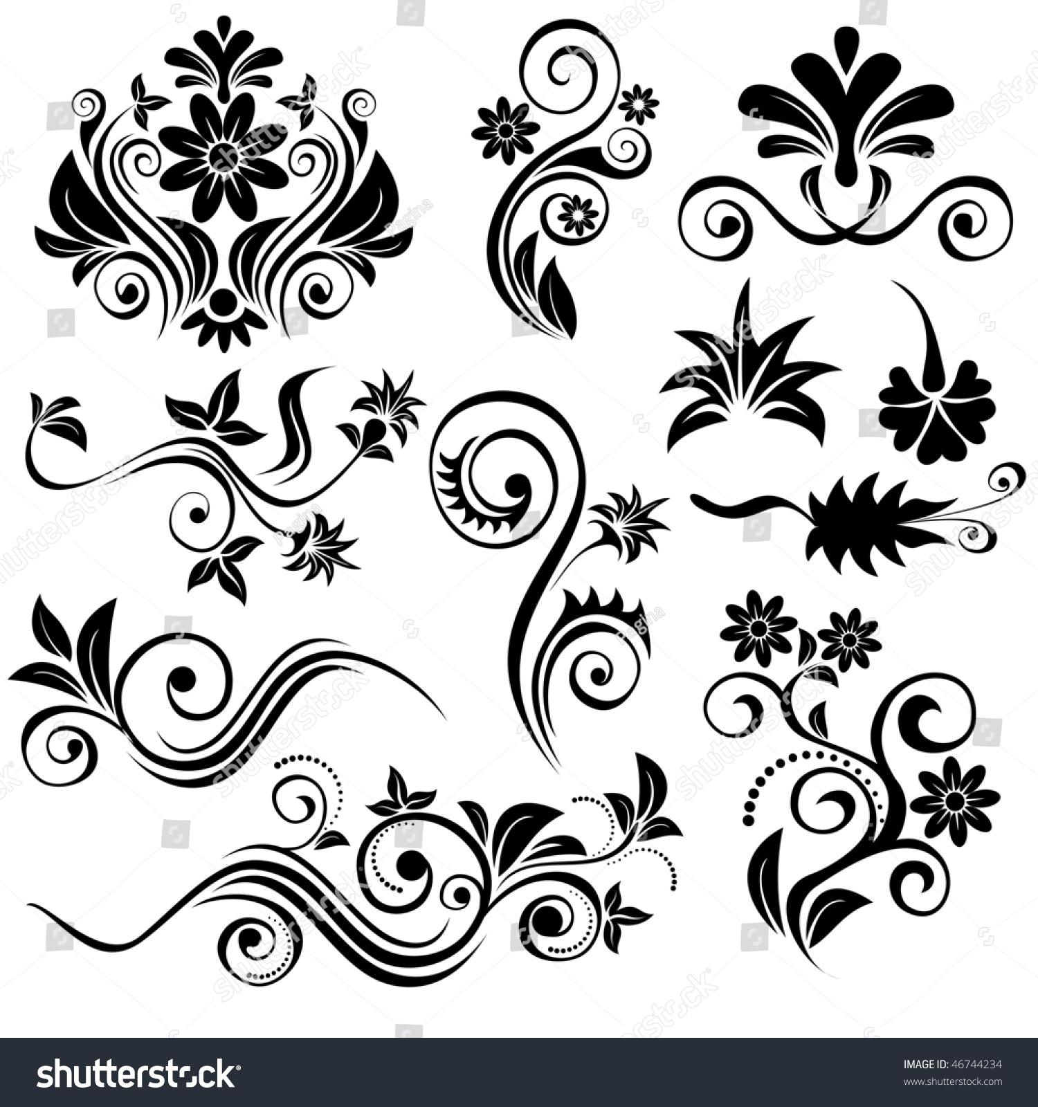 Set Of Black Flower Design Elements Stock Vector: Set Of Vector Floral Design Elements
