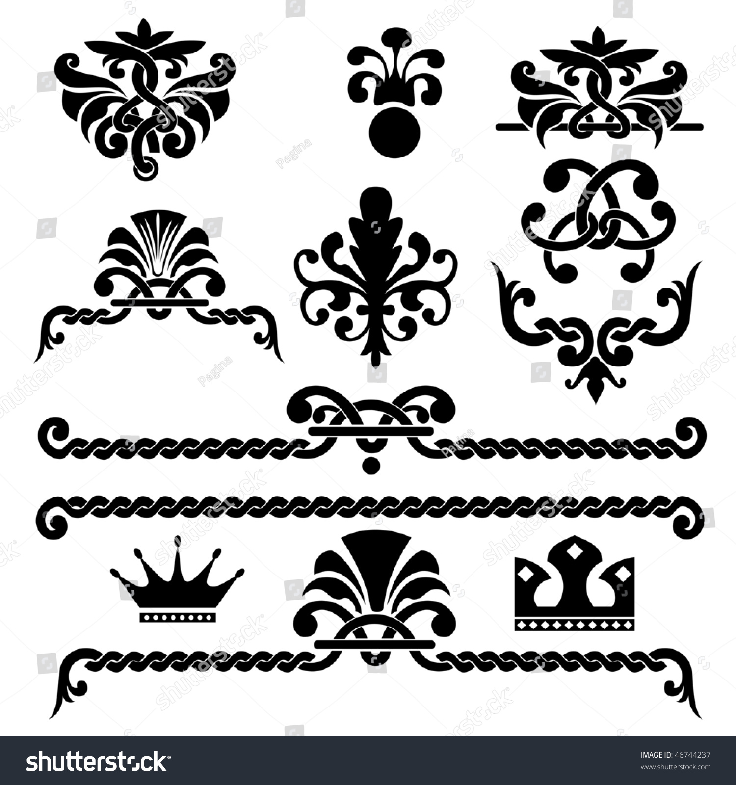 Set of vector gothic design elements 46744237 shutterstock for Gothic design elements