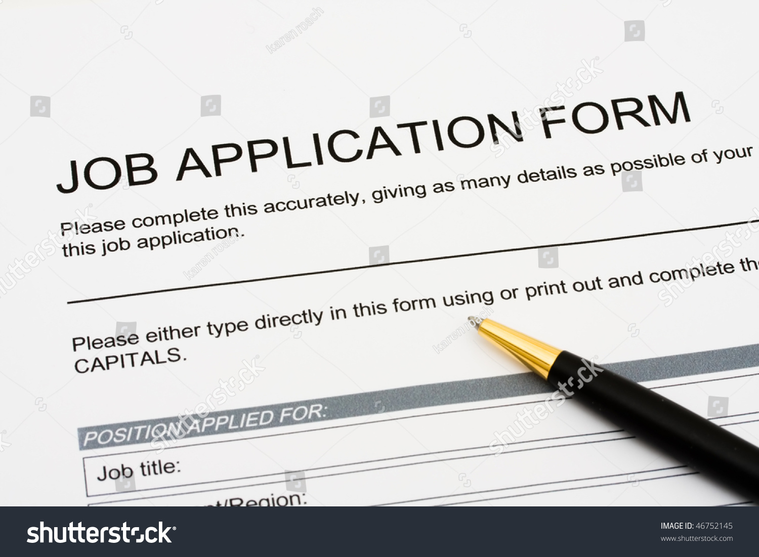 Job Application Jobs Sitting Pen Applying Stock Photo (Royalty Free ...