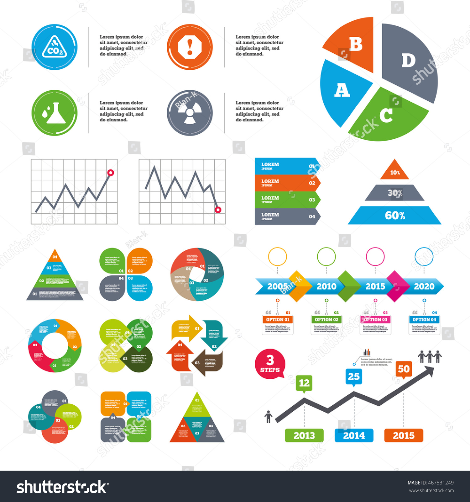 Data pie chart graphs attention radiation stock vector 467531249 data pie chart and graphs attention and radiation icons chemistry flask sign co2 pooptronica