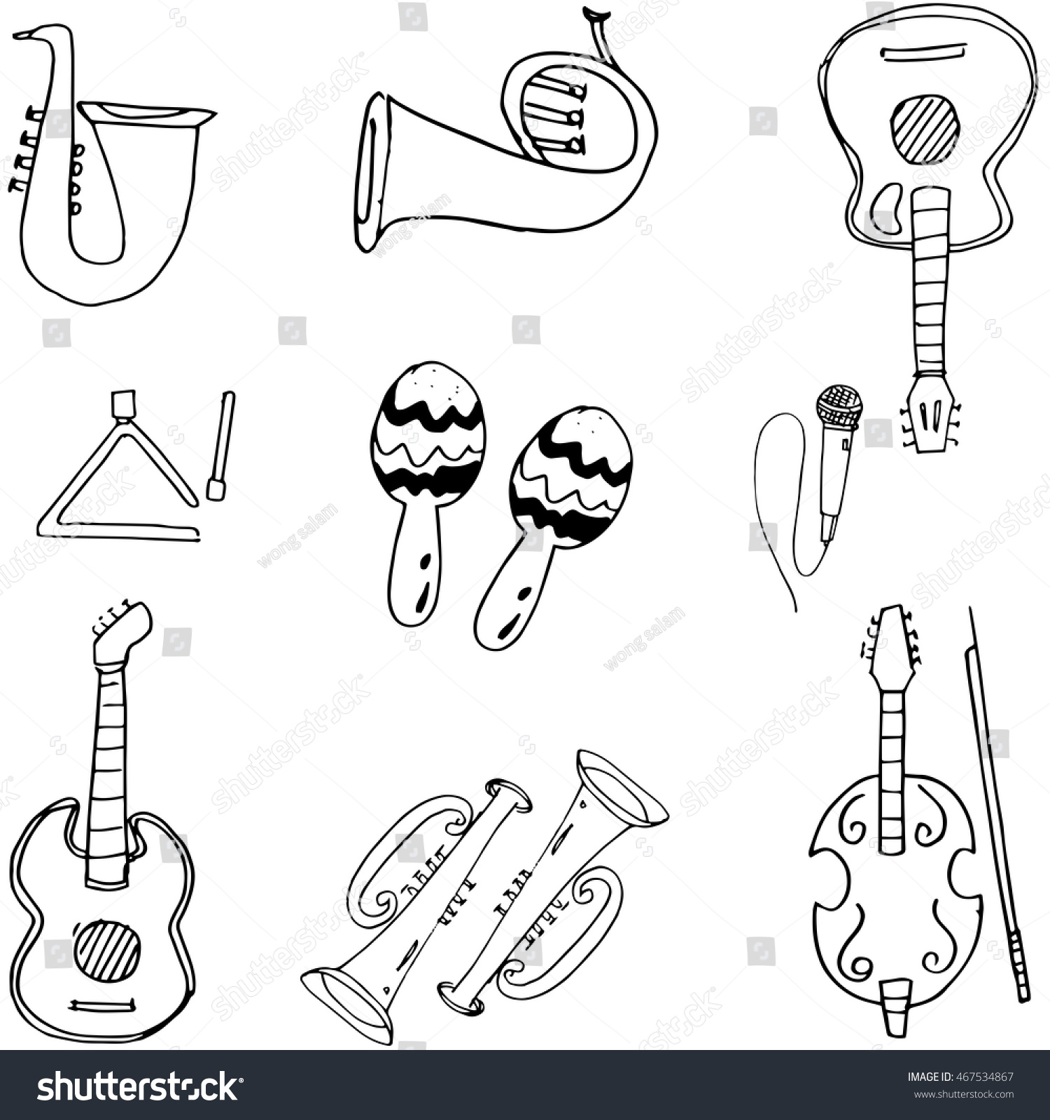 Music tools in doodle hand draw vector art