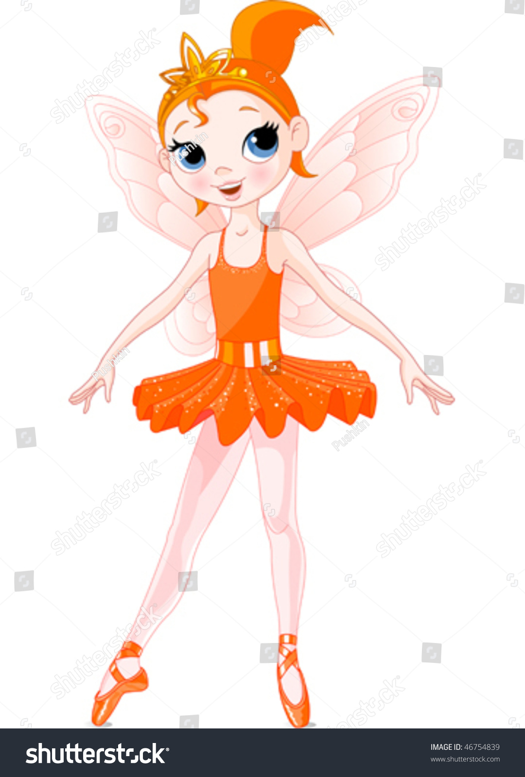 Orange Cute Fairy Ballerina. Wings And Glitter Are ...