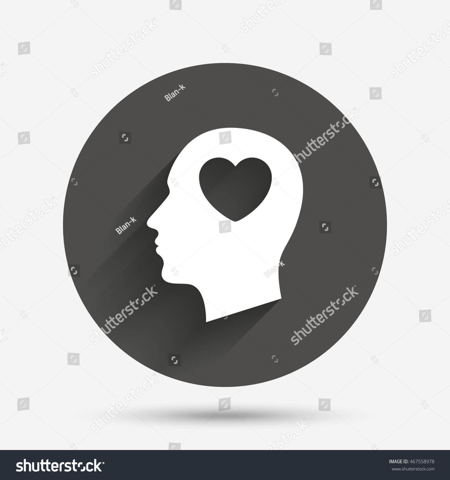 Head heart sign icon male human stock vector 467558978 shutterstock male human head in love symbol circle flat button buycottarizona