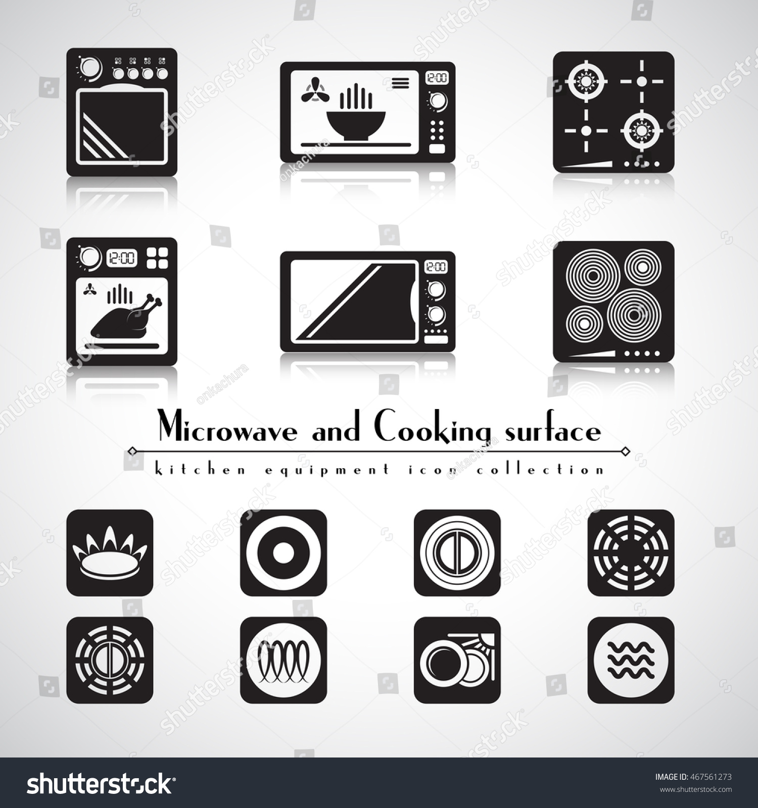 Microwave hob stove cooking surface icon stock vector for Kitchen set vector