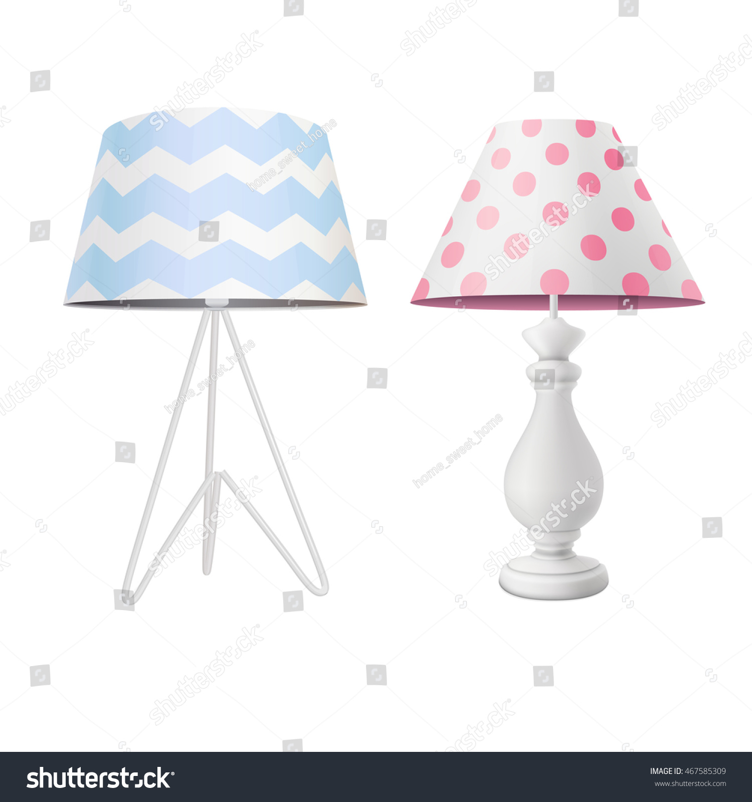White modern table lamp blue printed vectores en stock 467585309 white modern table lamp with blue printed tapered lampshade on tripod base and classic lamp with aloadofball Images