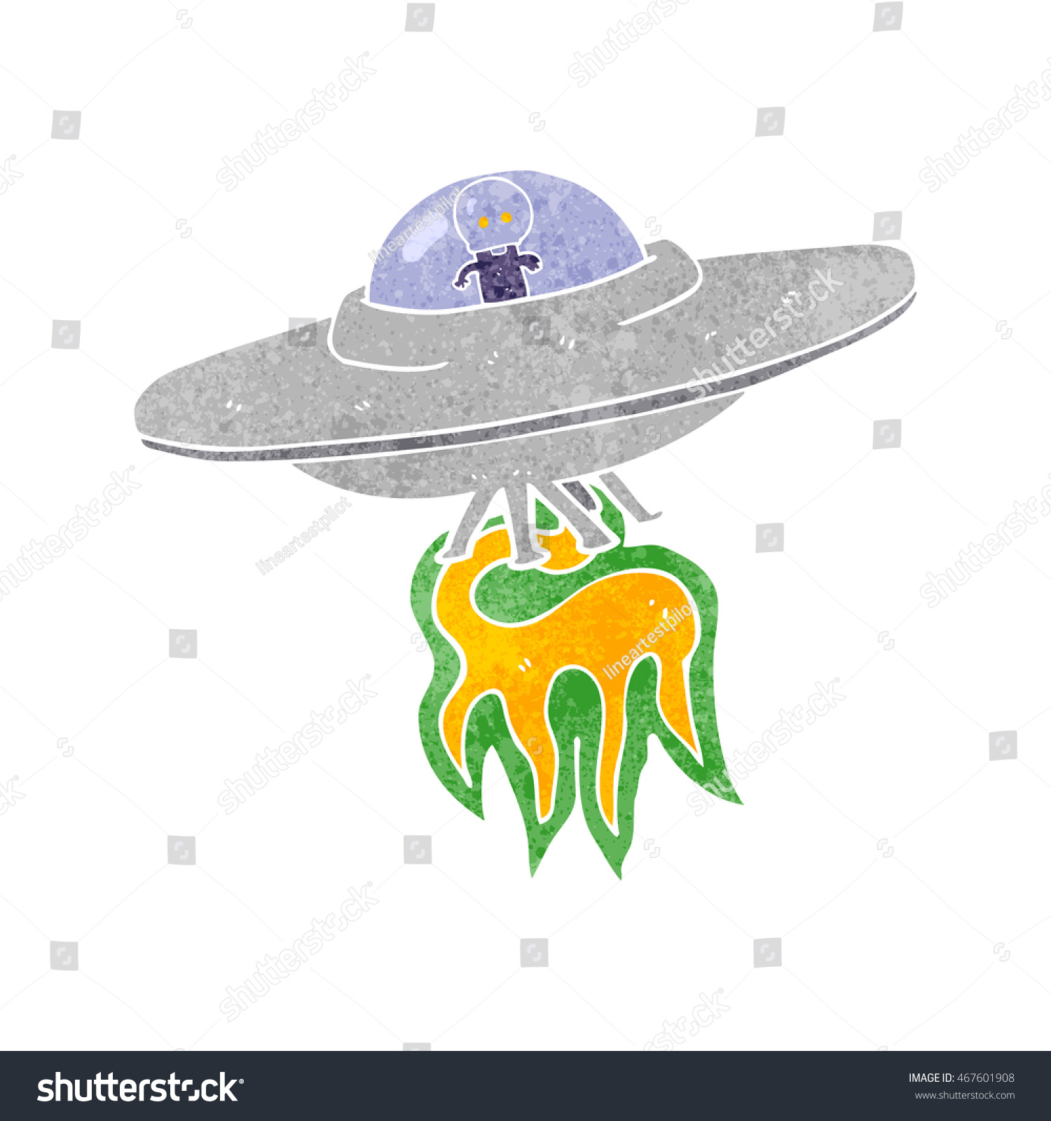 31f1385c2918d0 Freehand retro cartoon alien flying saucer stock illustration jpg 1500x1600 Alien  sombrero