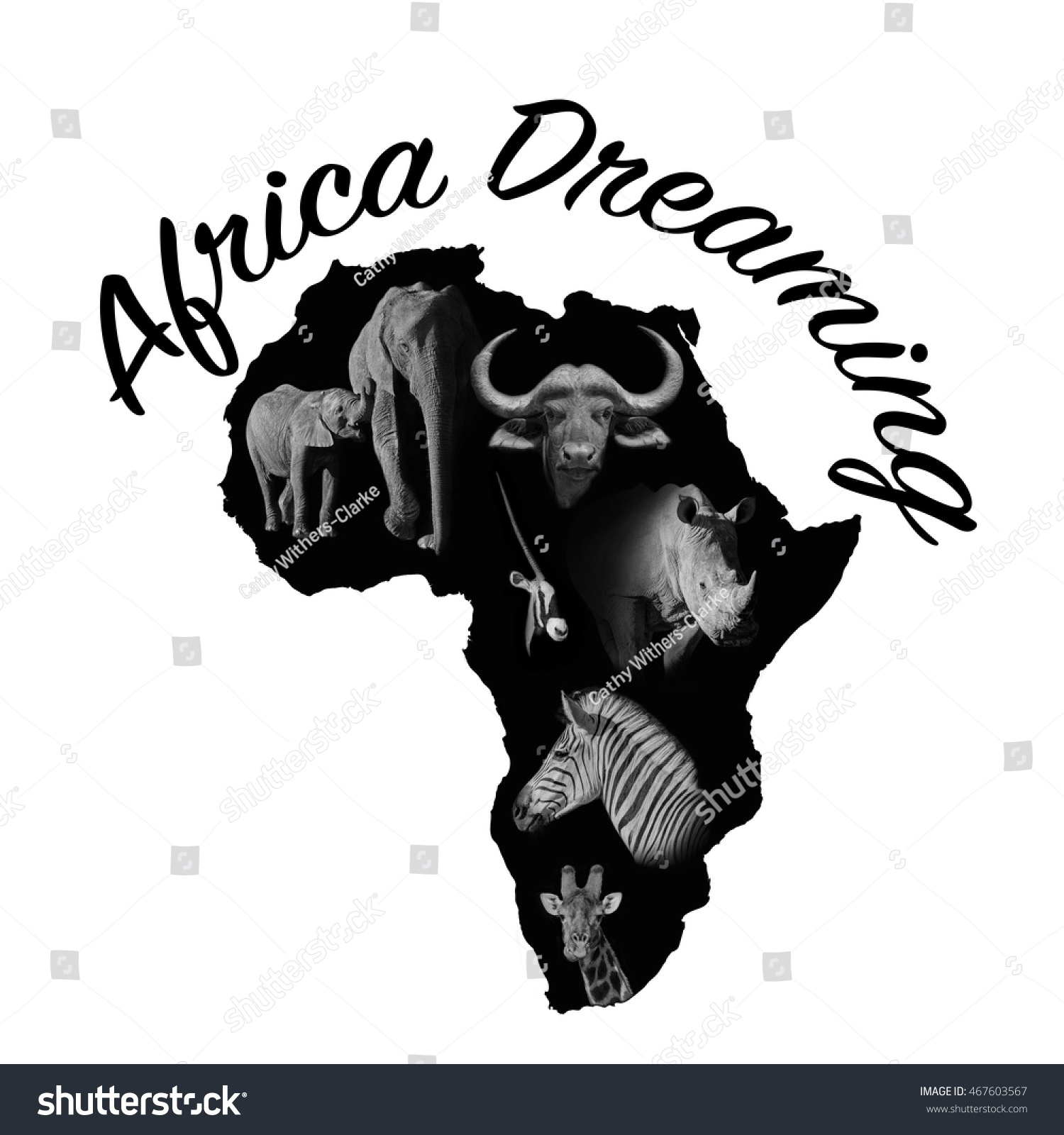 Black African Continent Outline Containing Examples Of Wildlife