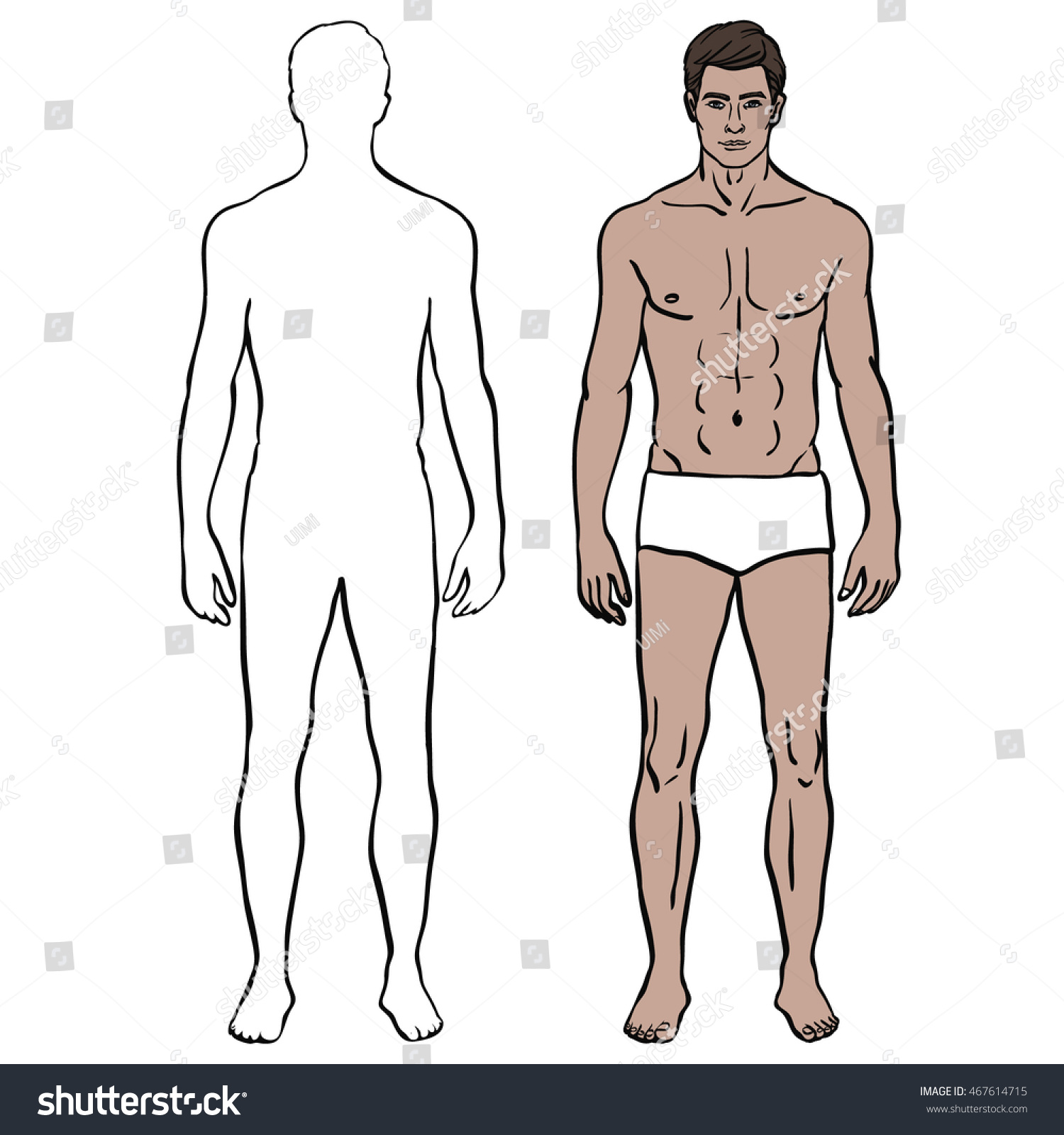 Outline Silhouette Of Male Body Caucasian Model Man In Underwear Colored Template Fit Fashion