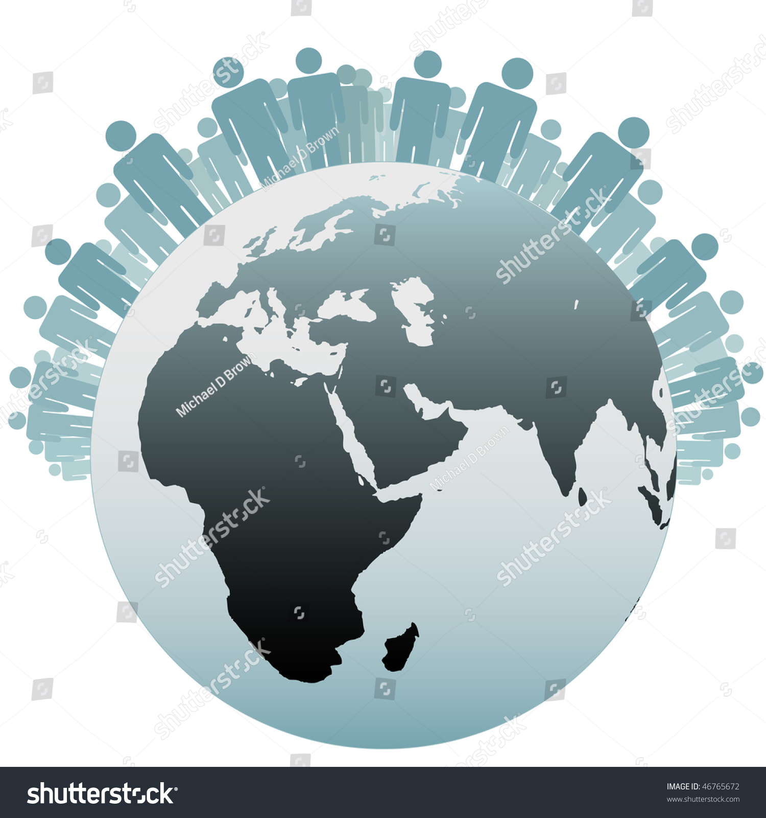 Many People Stand On Northern Hemisphere Stock Vector Royalty Free