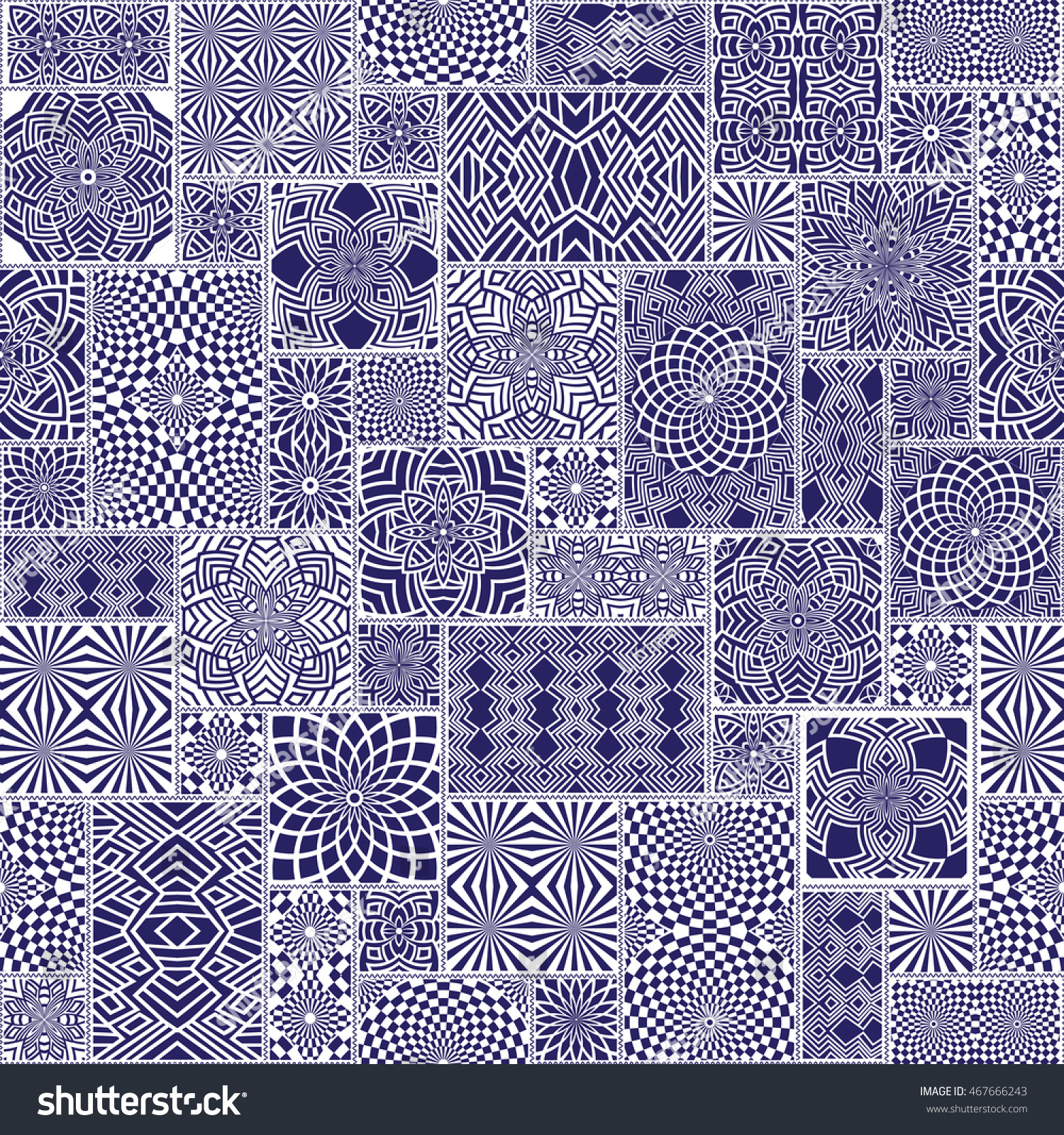 Vector Seamless Patchwork Pattern Blue White Stock Vector HD