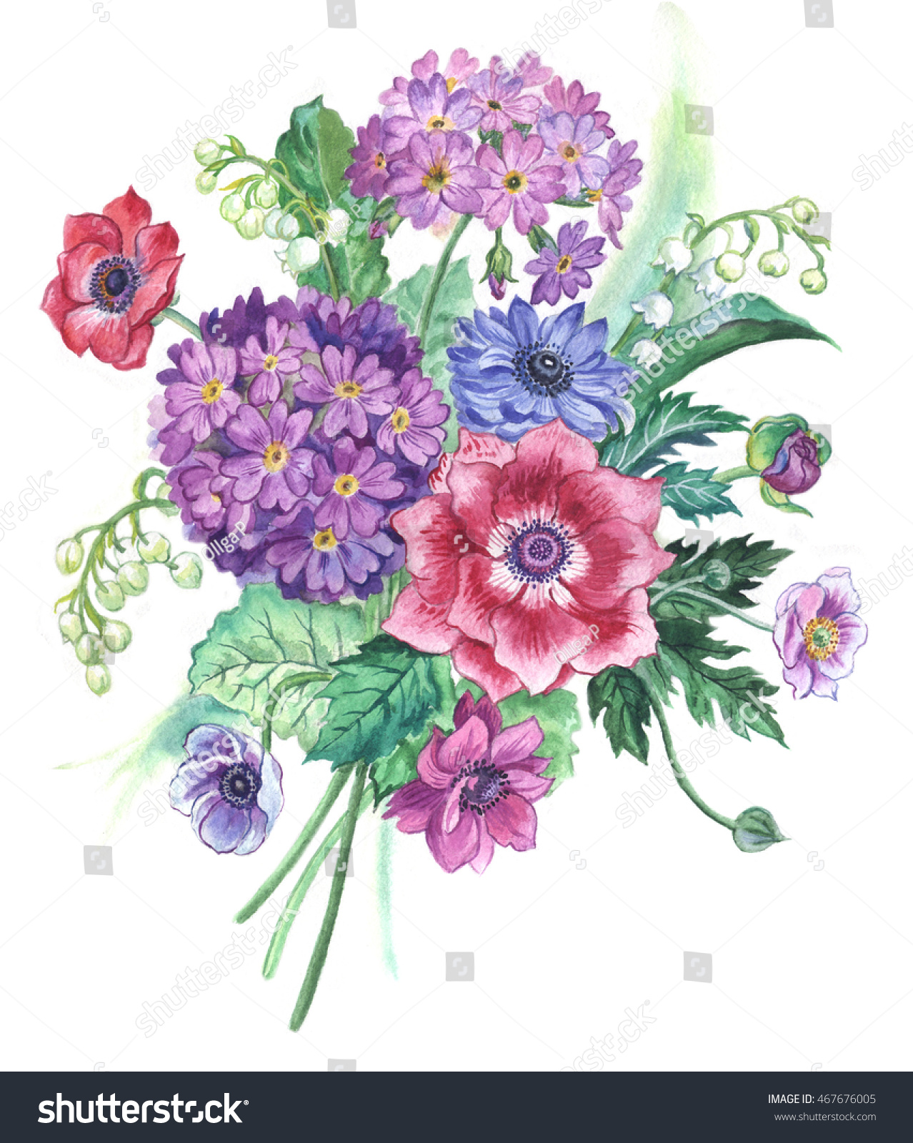 Bouquet Spring Flowers Watercolor Painting Stock Illustration