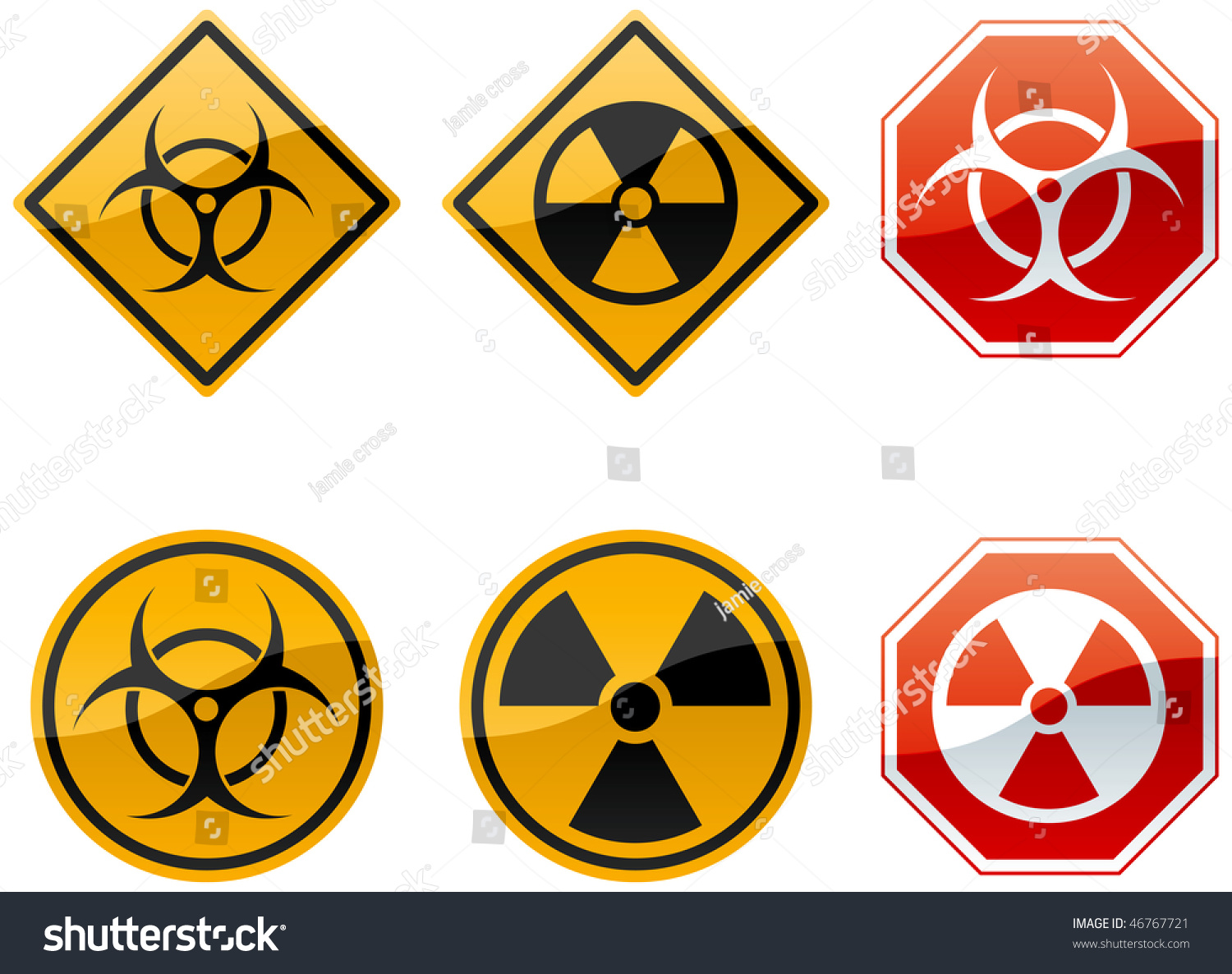 Set six warning signs biohazard nuclear stock illustration set of six warning signs biohazard and nuclear biocorpaavc Gallery