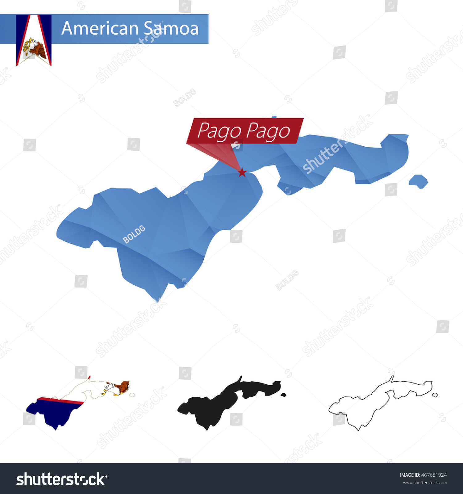 American Samoa Blue Low Poly Map Stock Vector Shutterstock - Samoa map vector