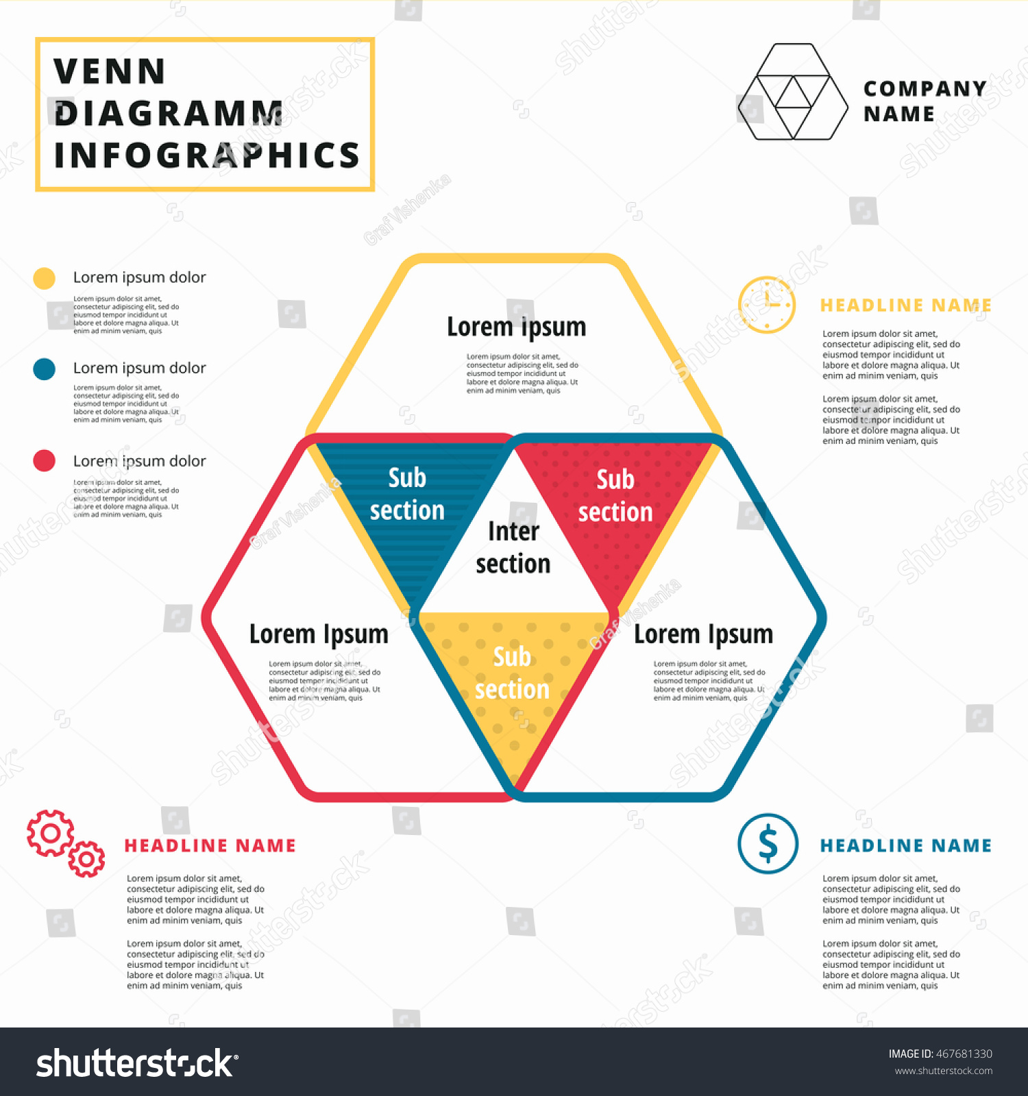 Venn diagram vector circles. Infographics template design. Overlapping  shapes for set or logic graphic