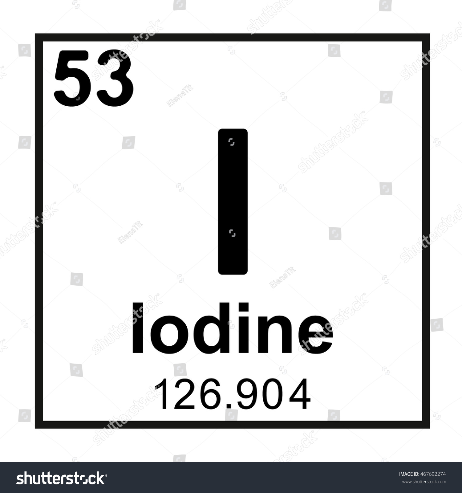 Periodic Table Element Iodine Stock Vector Royalty Free 467692274