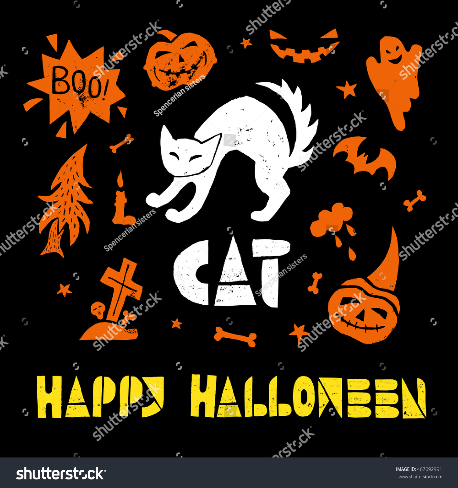 black cat happy halloween lino cut stock vector (royalty free