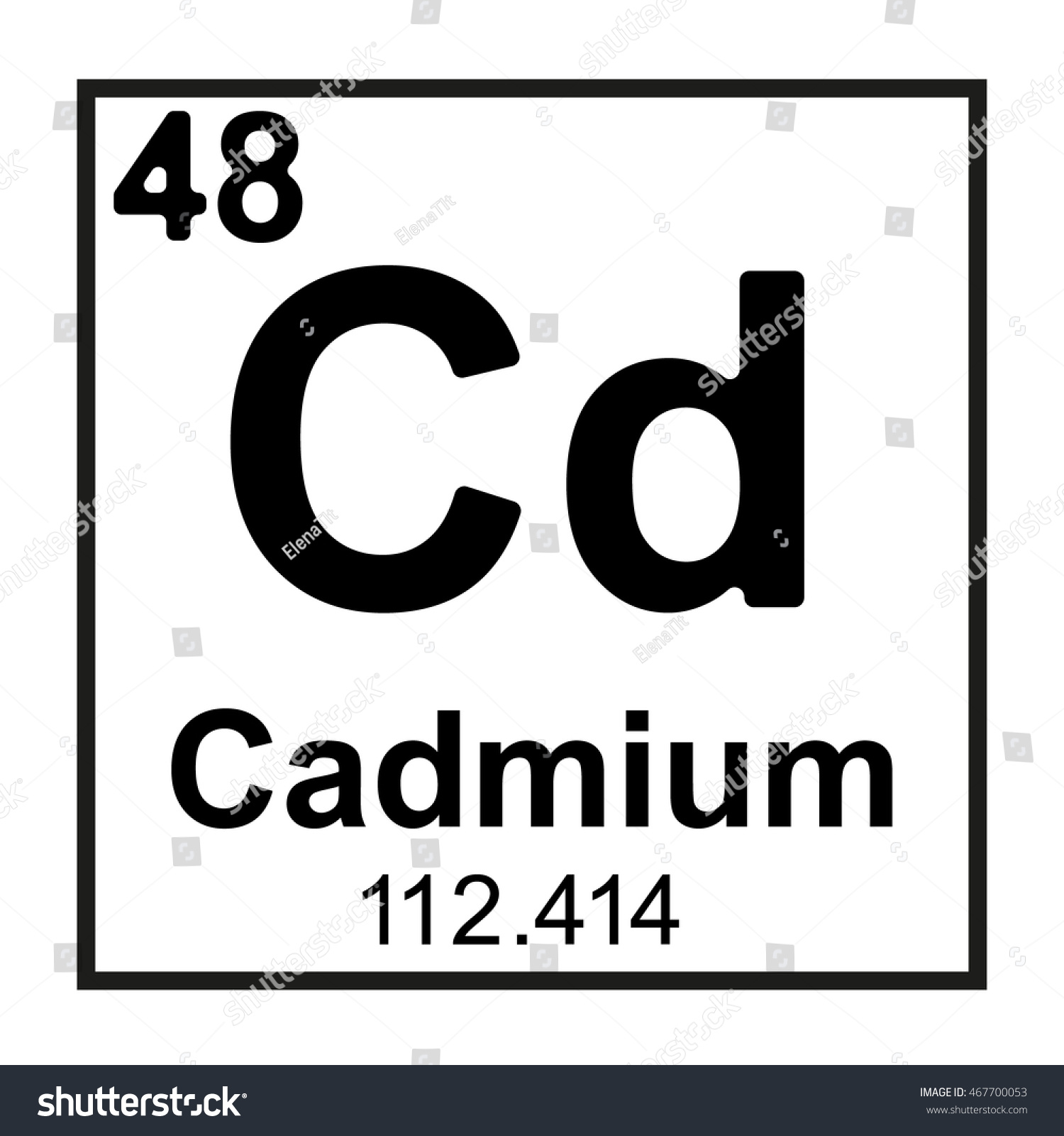 Periodic Table Element Cadmium Stock Vector Royalty Free 467700053