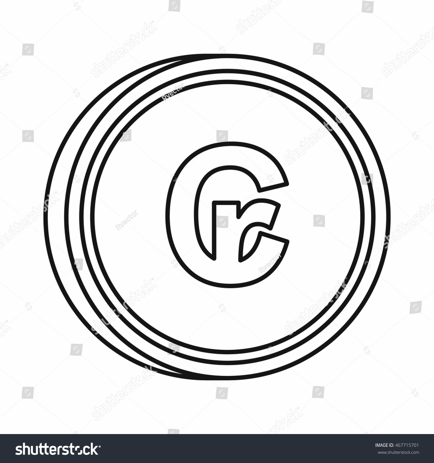 Brazilian Cruzeiro Currency Symbol Icon Outline Stock Vector