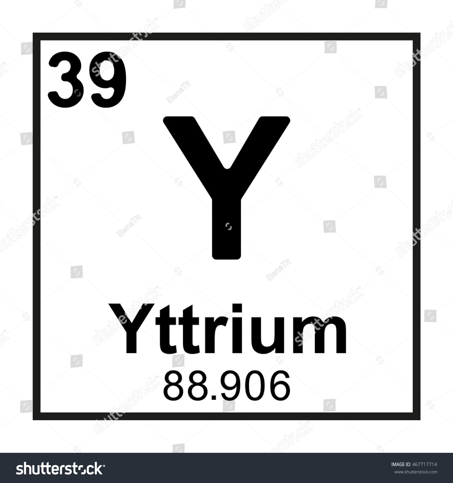 Periodic Table Element Yttrium Stock Vector Royalty Free 467717714