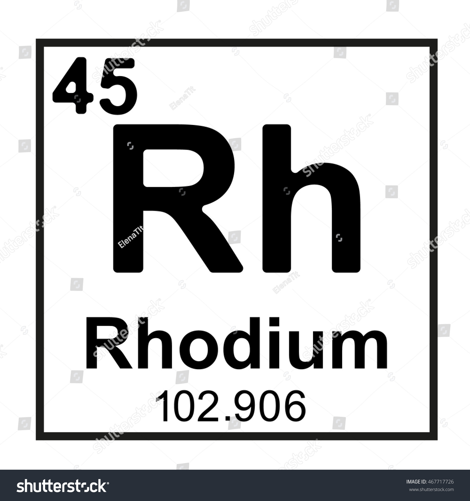 Periodic table element rhodium stock vector 467717726 shutterstock periodic table element rhodium gamestrikefo Image collections