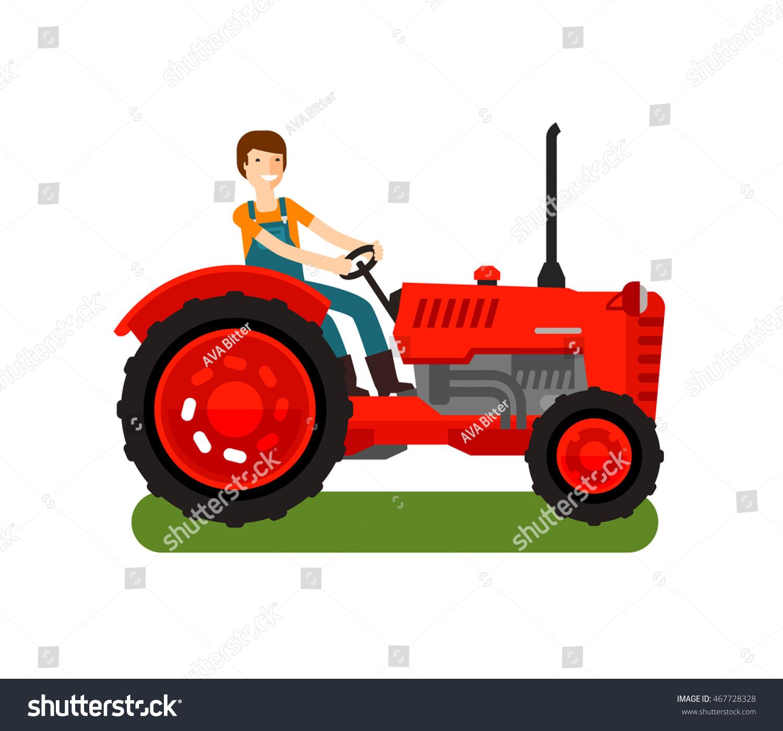 Vintage Tractor Cartoon : Retro farm tractor icon cartoon vector stock