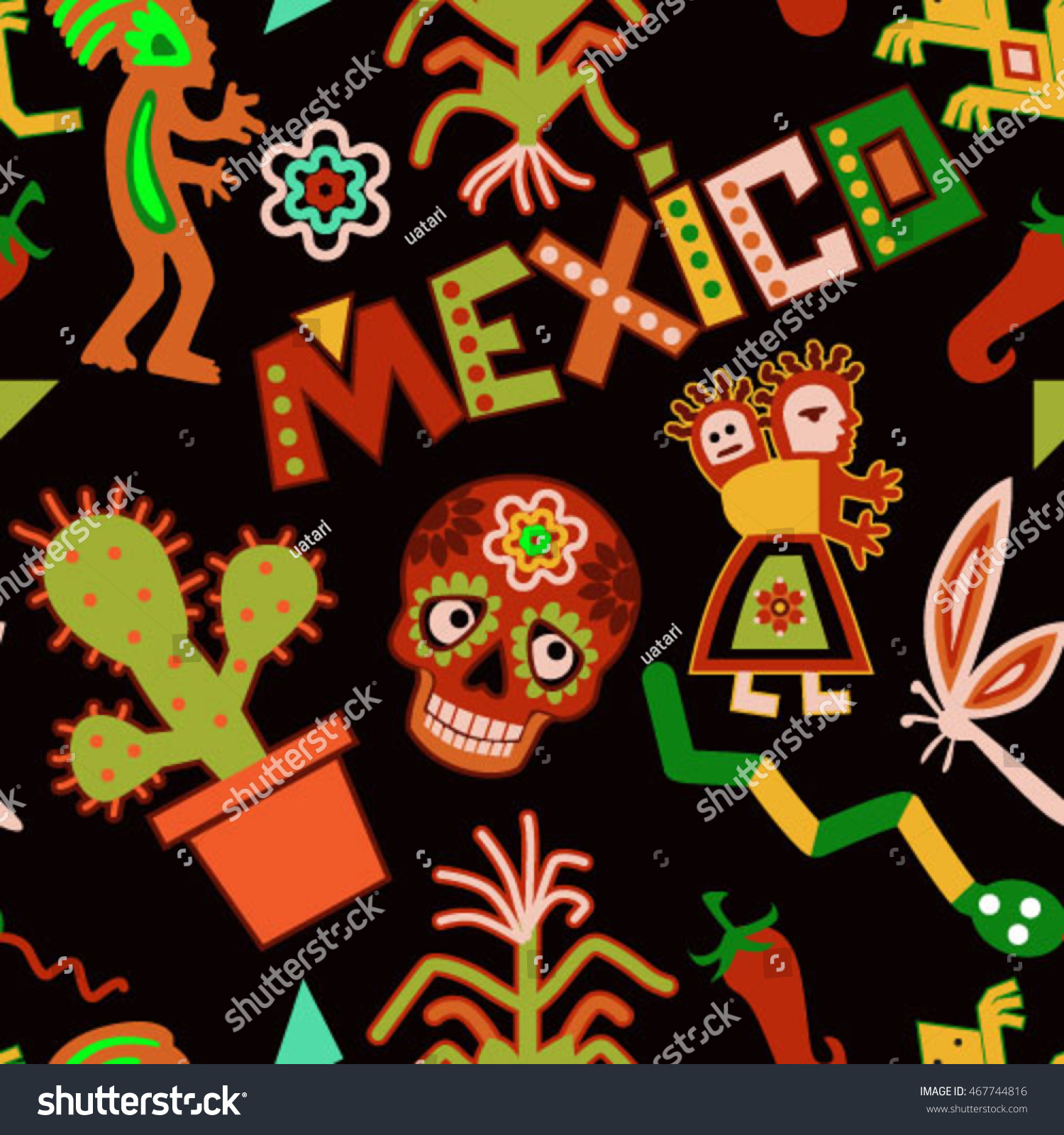 Mexican Symbols Seamless Pattern Dia De Stock Vector Royalty Free