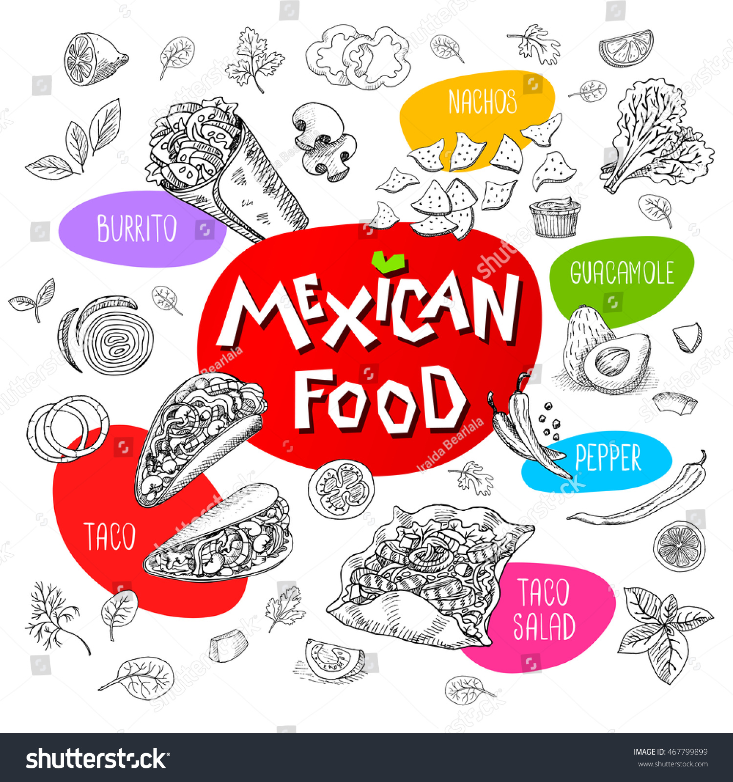 Medical abbreviations taco - Set Of Stickers In Sketch Style Food And Spices Old Paper Textured Background