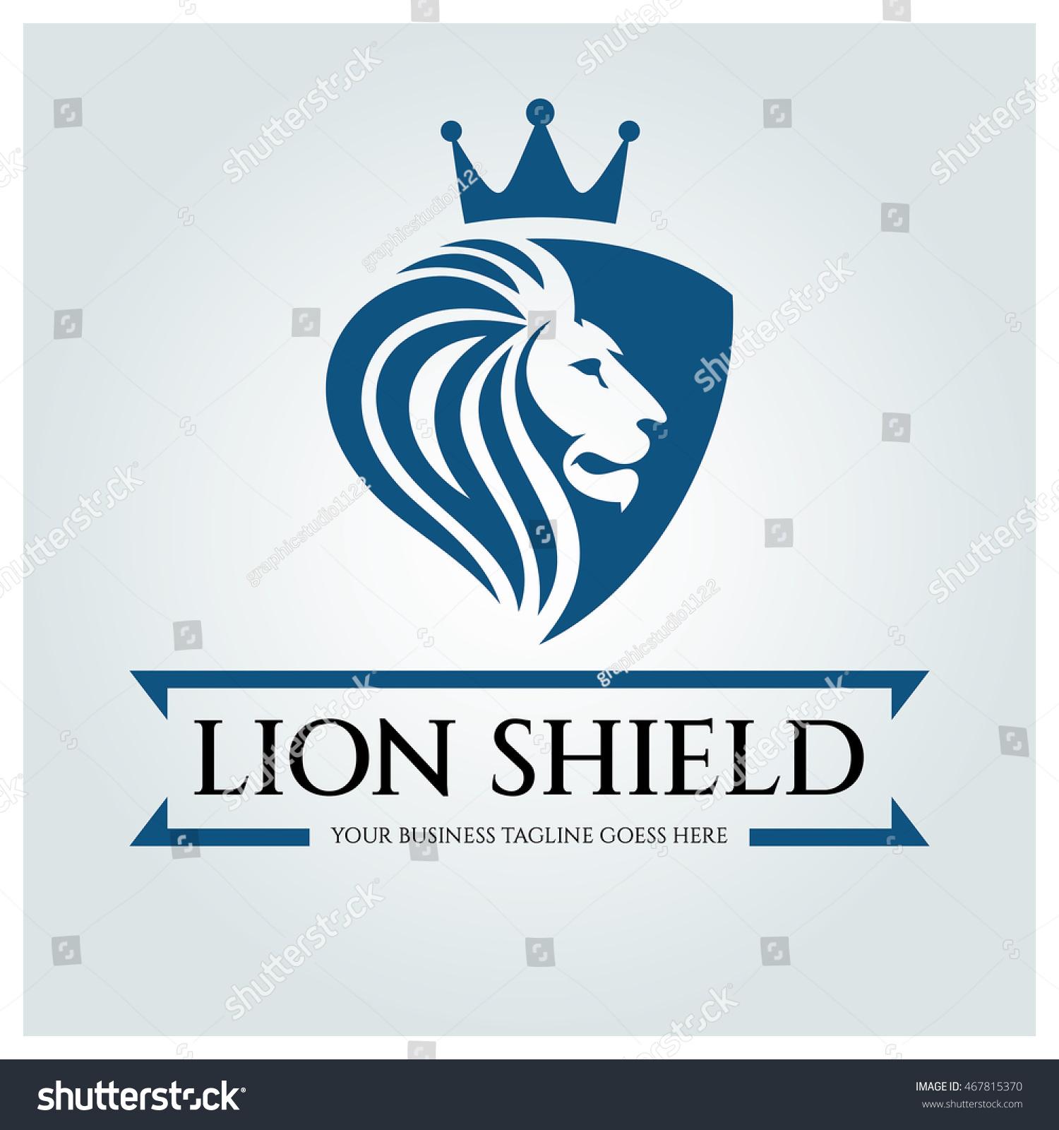 lion shield logo design template business stock vector