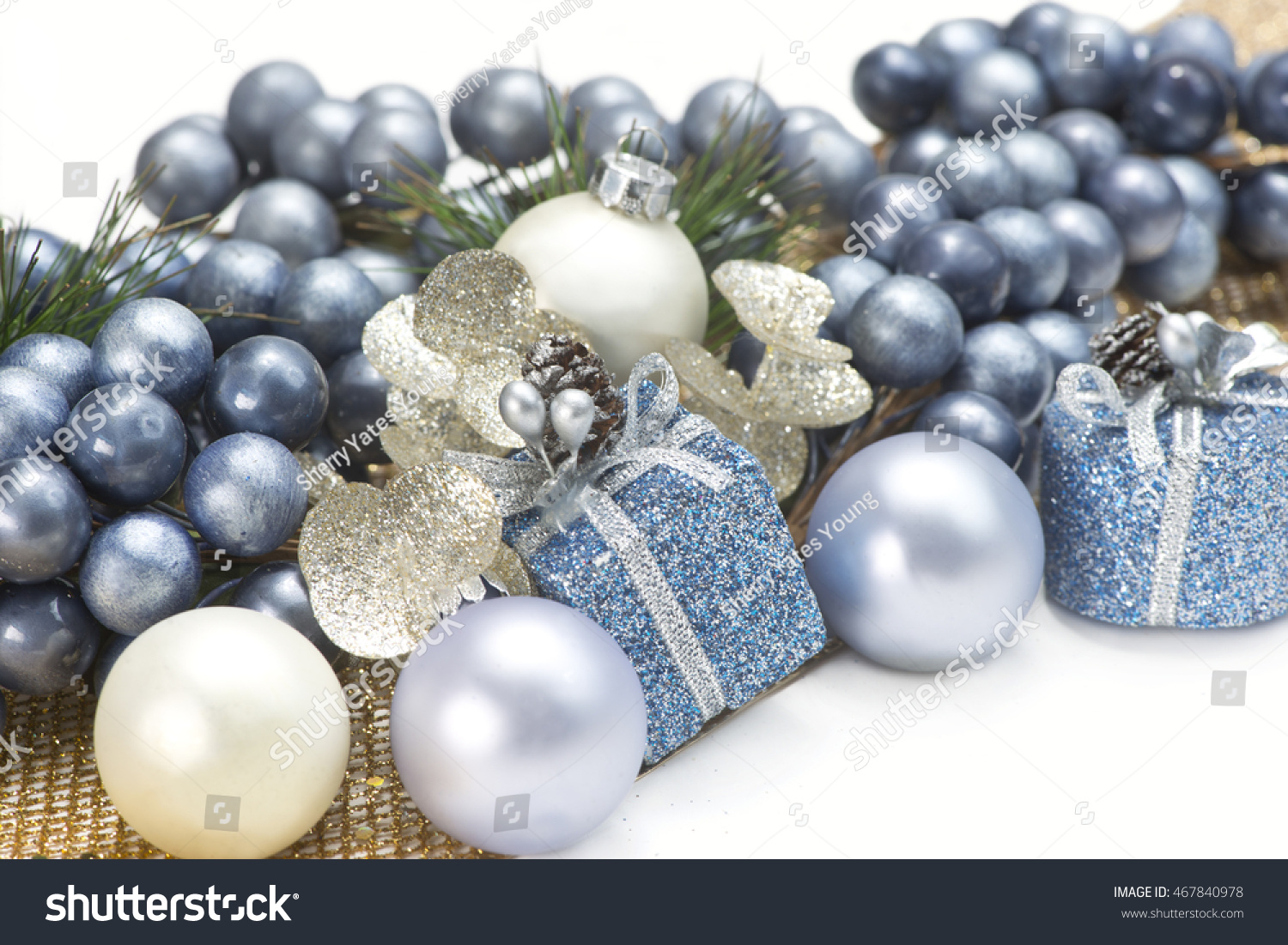 blue gold and silver christmas decorations on white background - Blue And Gold Christmas Decorations